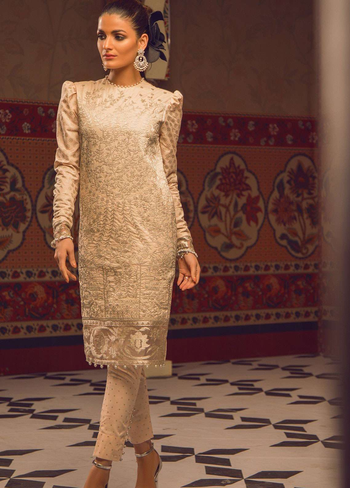 Al Karam Embroidered Cambric Unstitched 2 Piece Suit AK19F 17I - Festive Collection