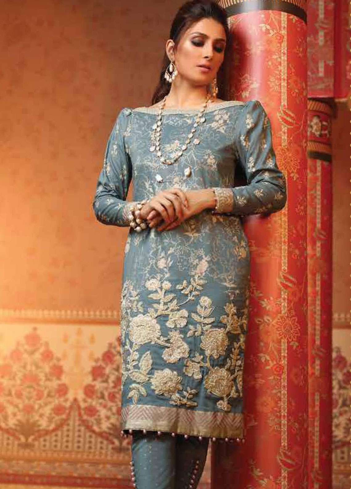 Al Karam Embroidered Cambric Unstitched 2 Piece Suit AK19F 18I - Festive Collection