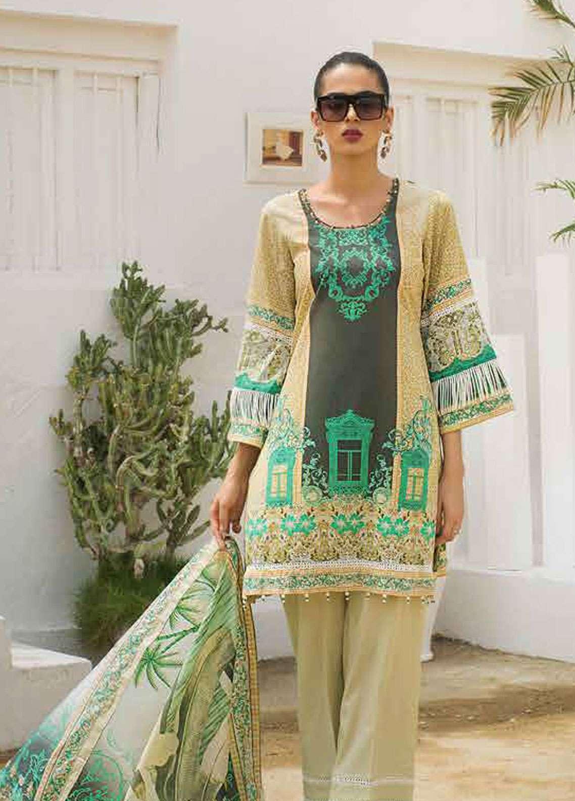 Al Zohaib Printed Lawn Unstitched 3 Piece Suit AZC19L 8B - Spring / Summer Collection