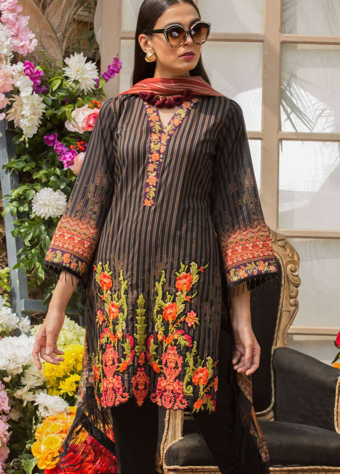 Al Zohaib Embroidered Lawn Unstitched 3 Piece Suit AZ19SA 08 - Spring / Summer Collection