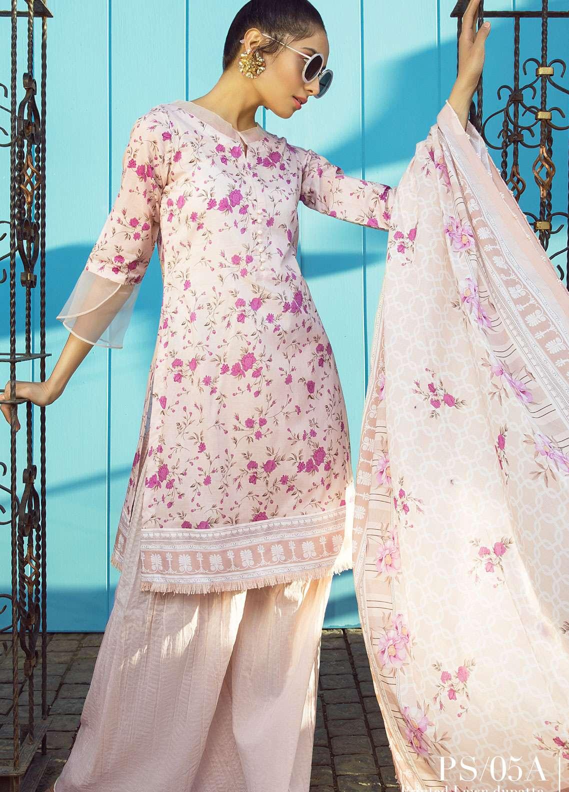 Al Zohaib Printed Lawn Unstitched 3 Piece Suit AZ19SA PS-5A - Spring / Summer Collection