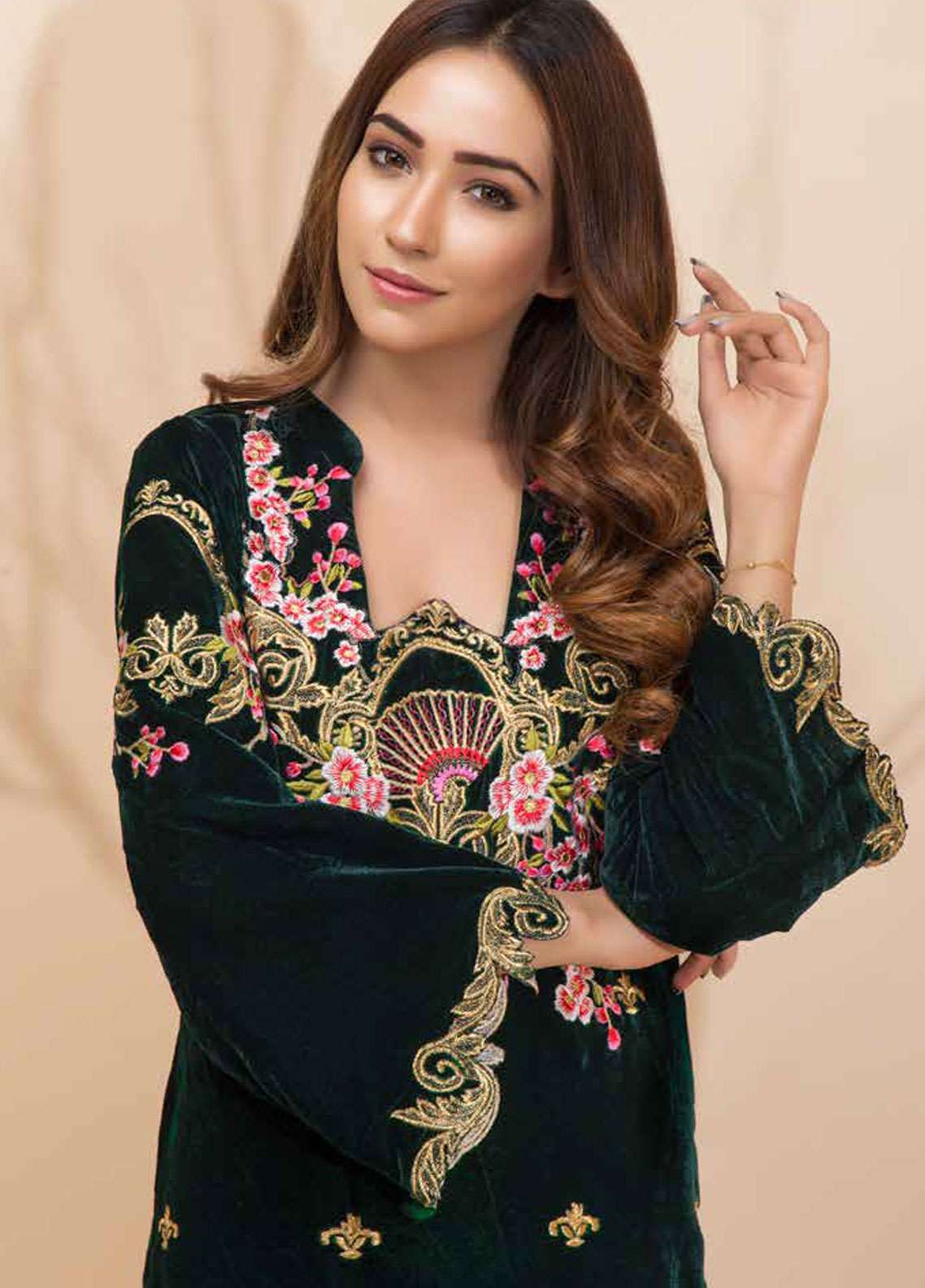 Al Zohaib Embroidered Velvet Unstitched Kurties AZ18-V2 02 - Winter Collection