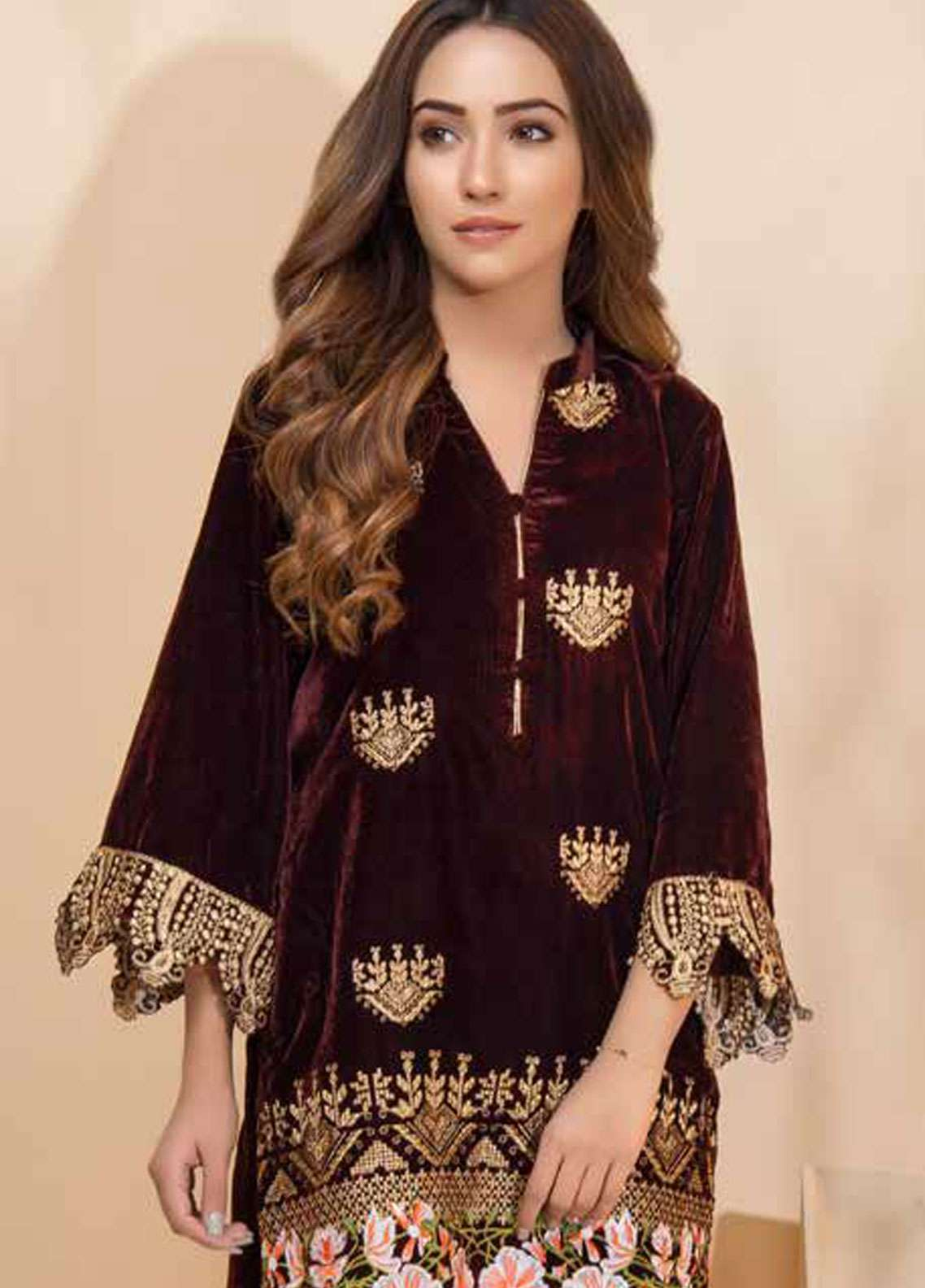 Al Zohaib Embroidered Velvet Unstitched Kurties AZ18-V2 04 - Winter Collection