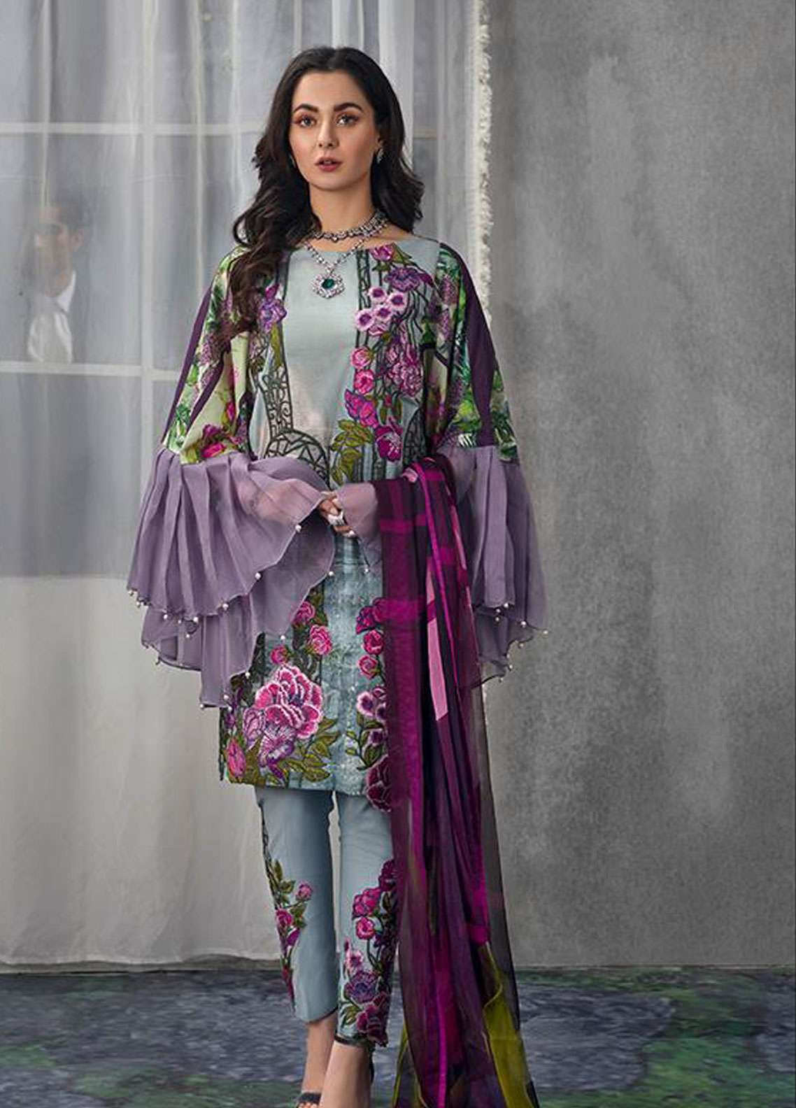 Asifa & Nabeel Embroidered Lawn Unstitched 3 Piece Suit AN19L 3H Upside Down - Spring / Summer Collection