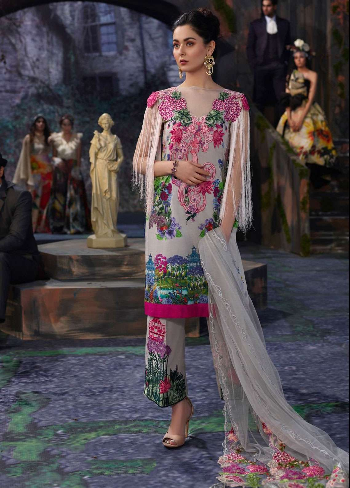 Asifa & Nabeel Embroidered Lawn Unstitched 3 Piece Suit AN19L 6J Rise - Spring / Summer Collection