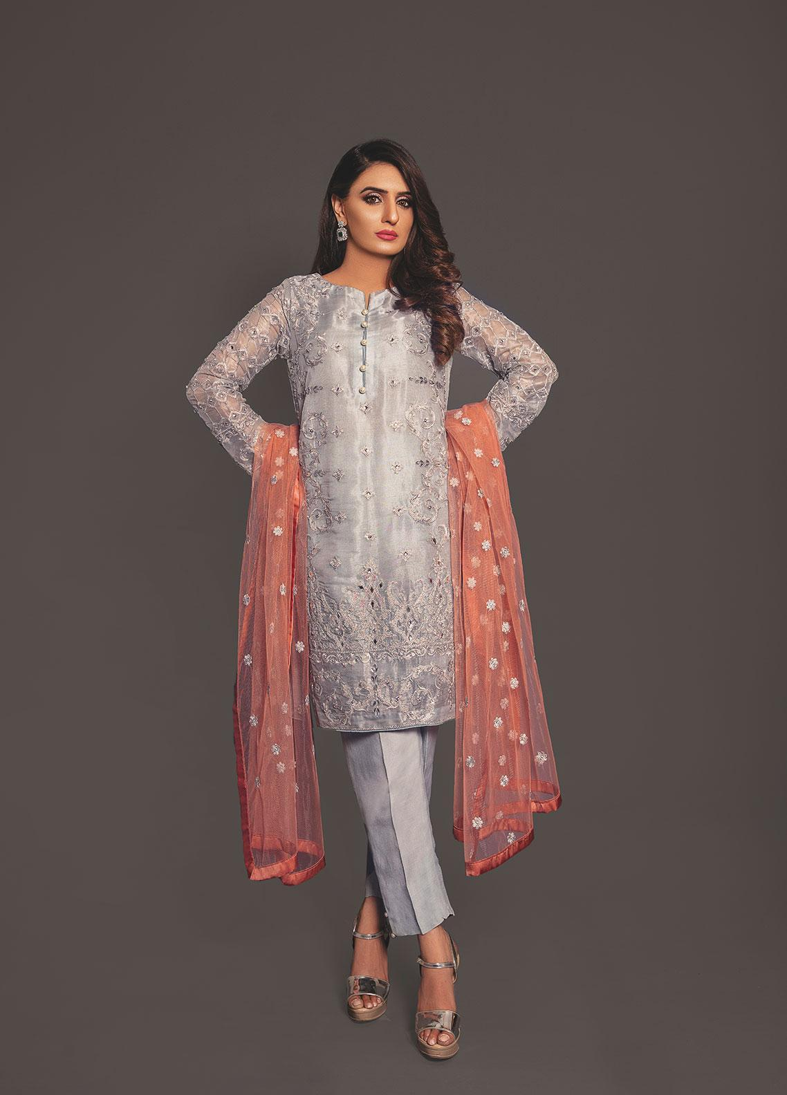 Anahi by Gulaal Embroidered Chiffon Stitched 3 Piece Suit ANG19E 04 AQUA TROVE
