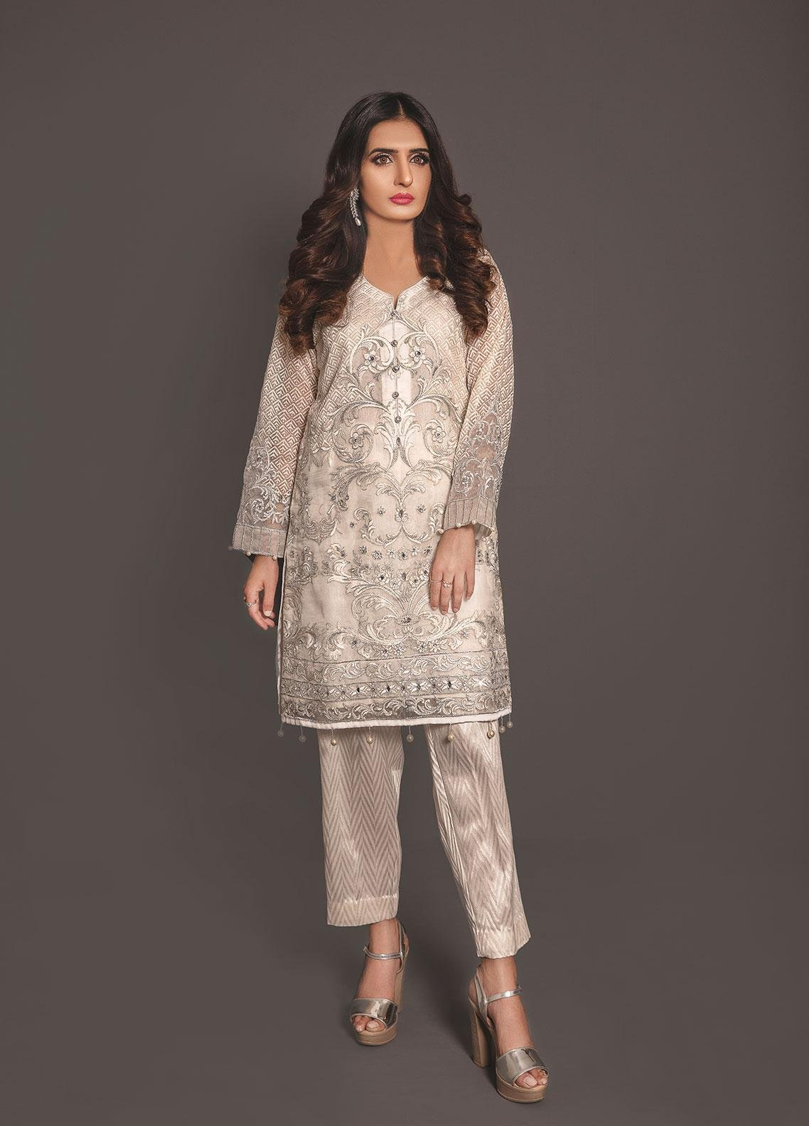 Anahi by Gulaal Embroidered Organza Stitched 2 Piece Suit ANG19E 02 IVORY BLISS