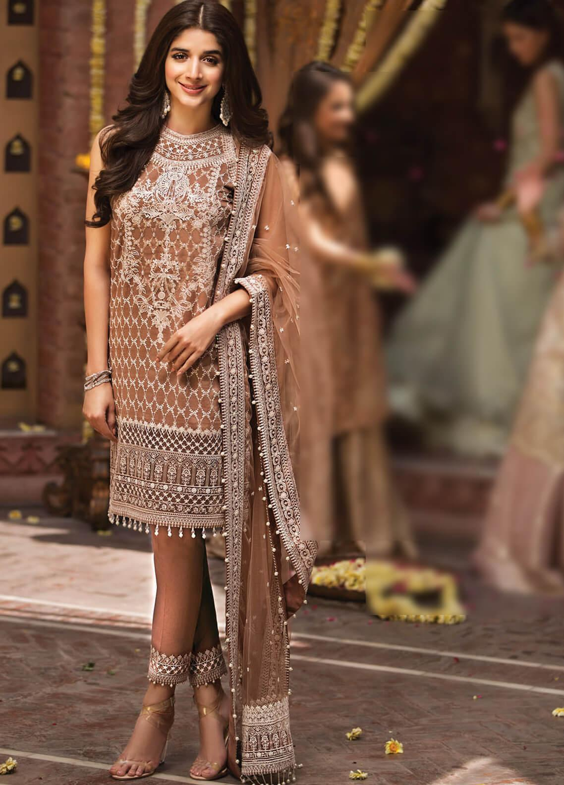 Anaya by Kiran Chaudhry Embroidered Cotton Net Unstitched 3 Piece Suit AKC19F 04 EVA - Festive Collection