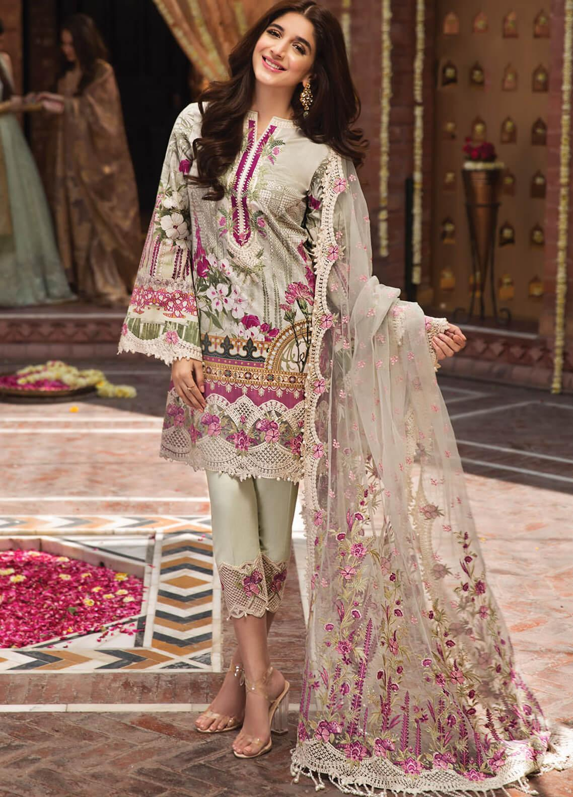 Anaya by Kiran Chaudhry Embroidered Lawn Unstitched 3 Piece Suit AKC19F 07 NINA - Festive Collection