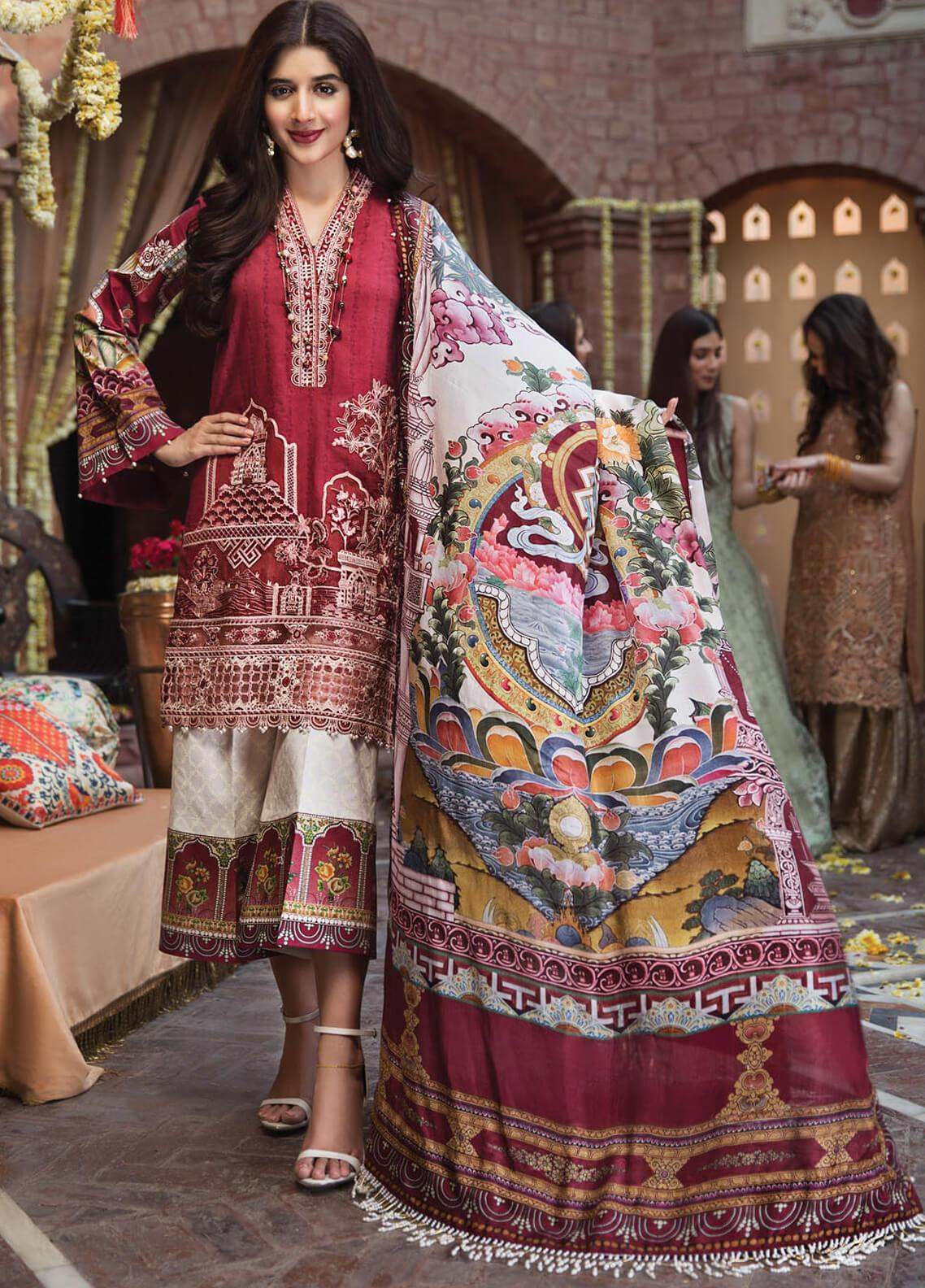 Anaya by Kiran Chaudhry Embroidered Lawn Unstitched 3 Piece Suit AKC19F 08 ANYA - Festive Collection