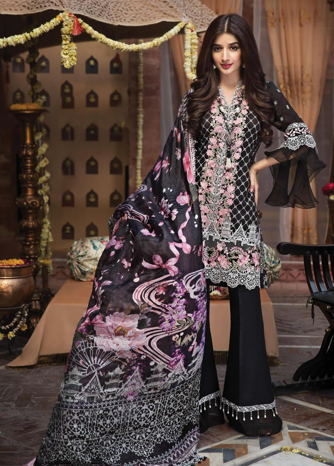 Anaya by Kiran Chaudhry Embroidered Cotton Net Unstitched 3 Piece Suit AKC19F 09 LAILA - Festive Collection