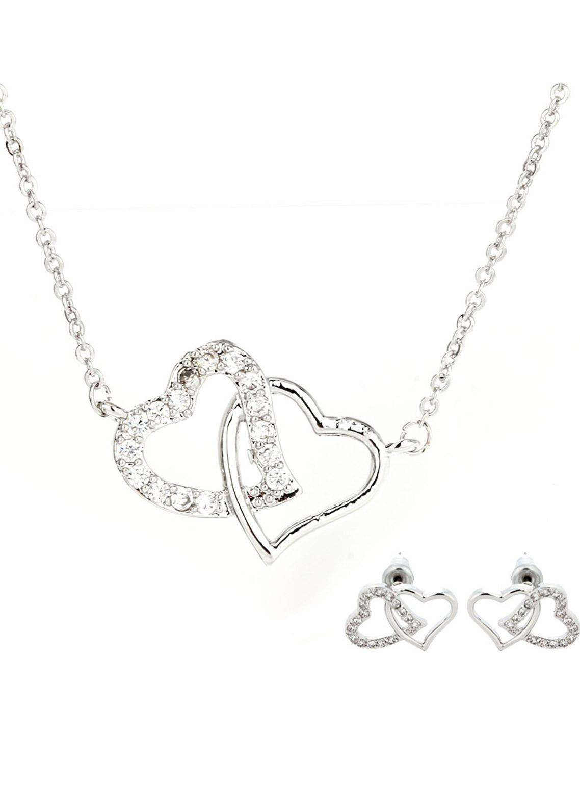 Anna Grace London by Silk Avenue Silver Intertwined Crystal Hearts Necklace & Earrings Jewelry Set AGNE013 - Ladies Jewellery