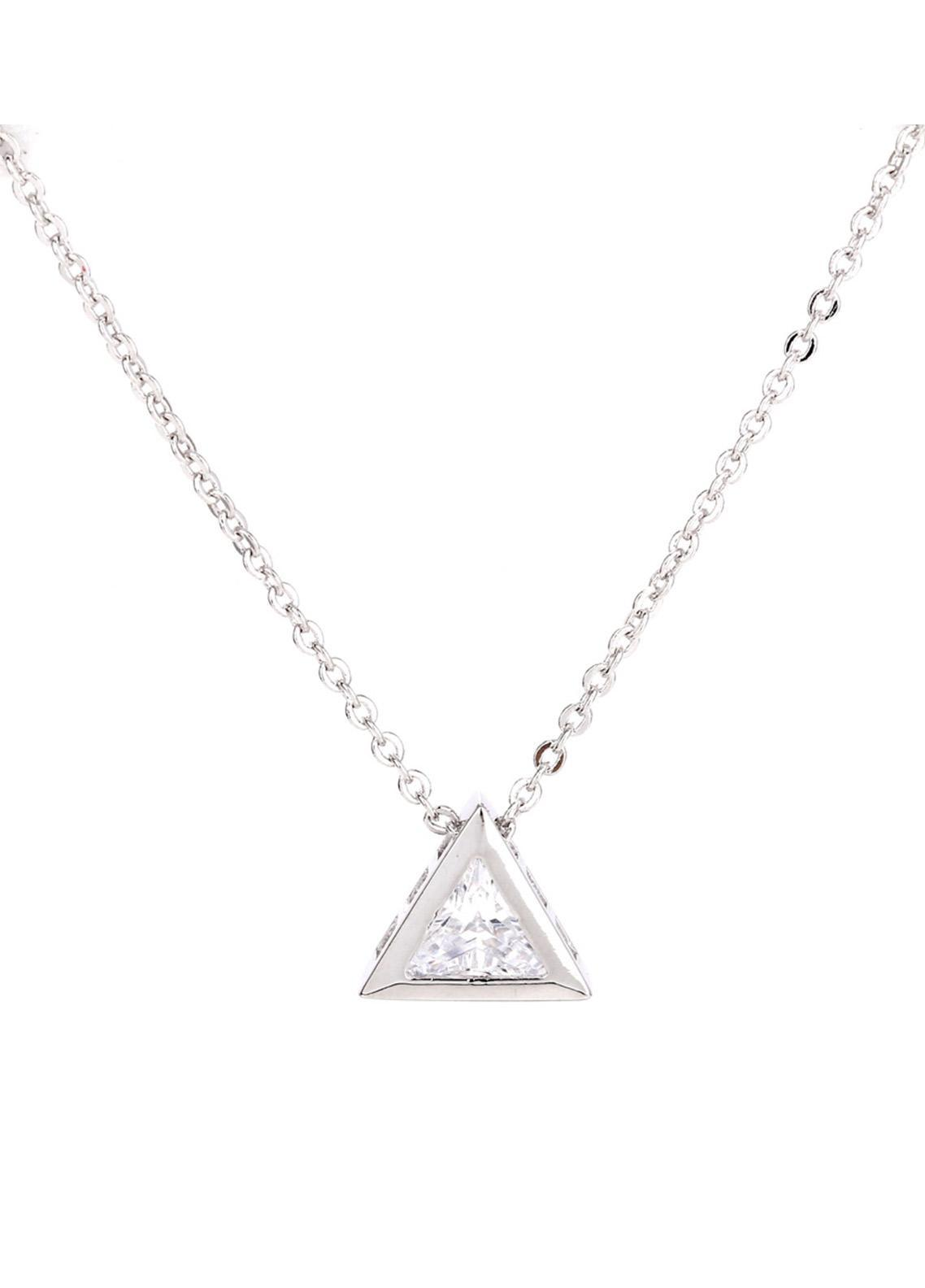 Anna Grace London by Silk Avenue Silver Plated Crystal Triangle Necklace AGN0032 - Ladies Jewellery