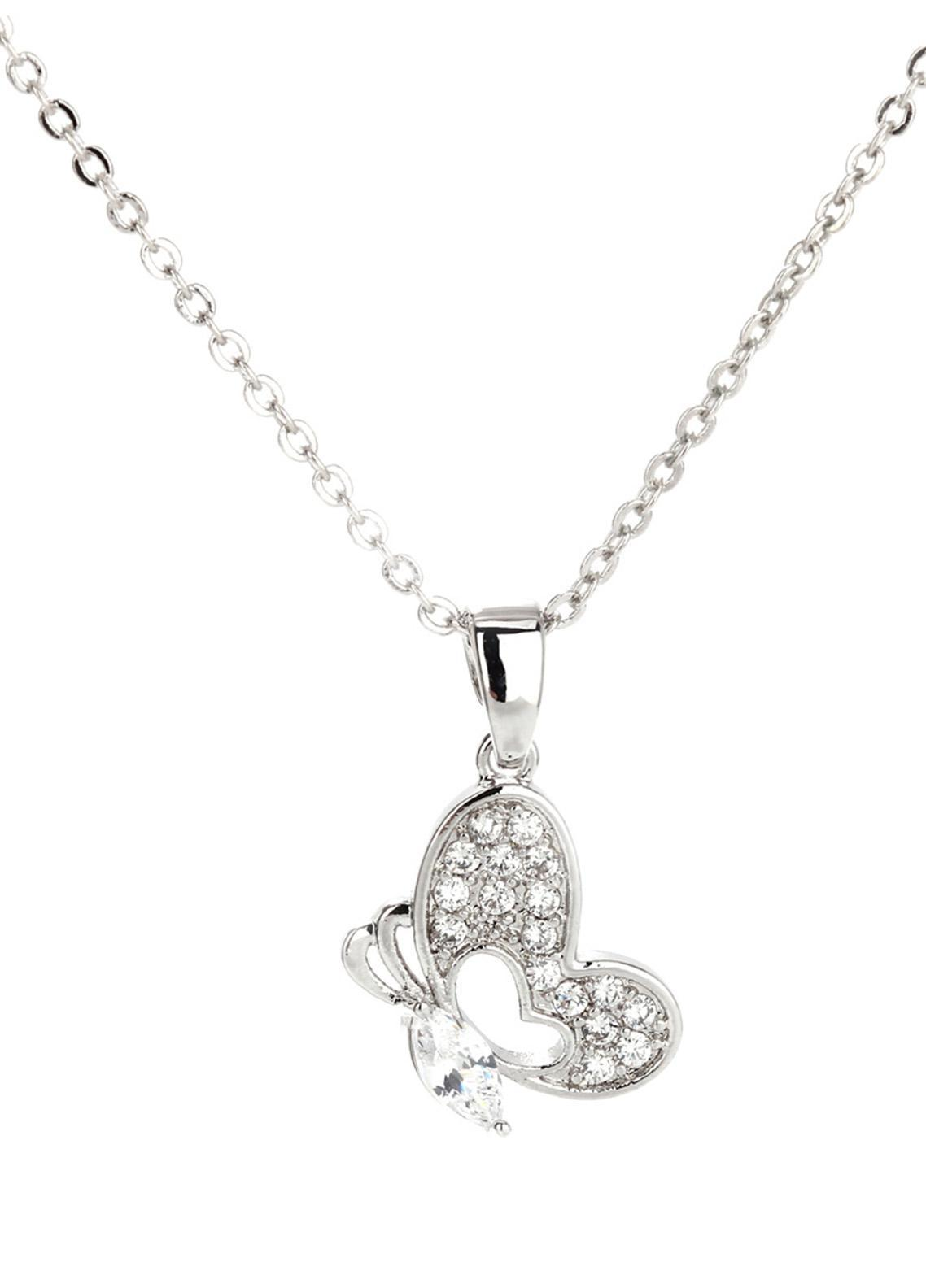 Anna Grace London by Silk Avenue Silver Plated Crystal Butterfly Necklace AGN0034 - Ladies Jewellery