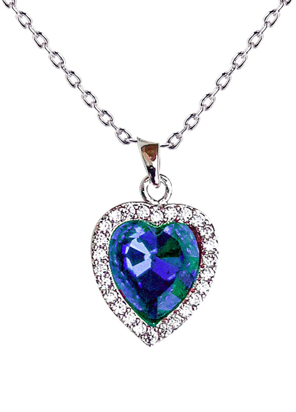 Anna Grace London by Silk Avenue Navy/Emerald Crystal Heart Necklace AGN0037 - Ladies Jewellery