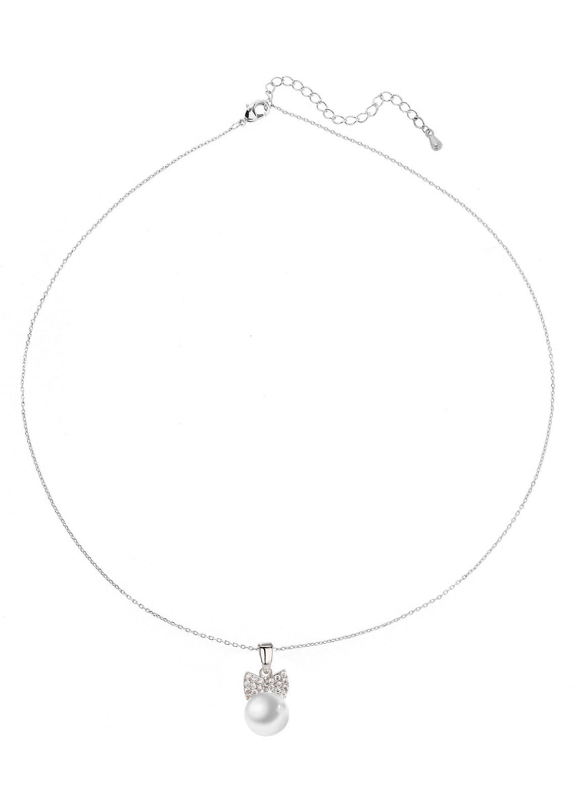 Anna Grace London by Silk Avenue Silver Plated Crystal Bow Pearl Necklace AGN0038 - Ladies Jewellery