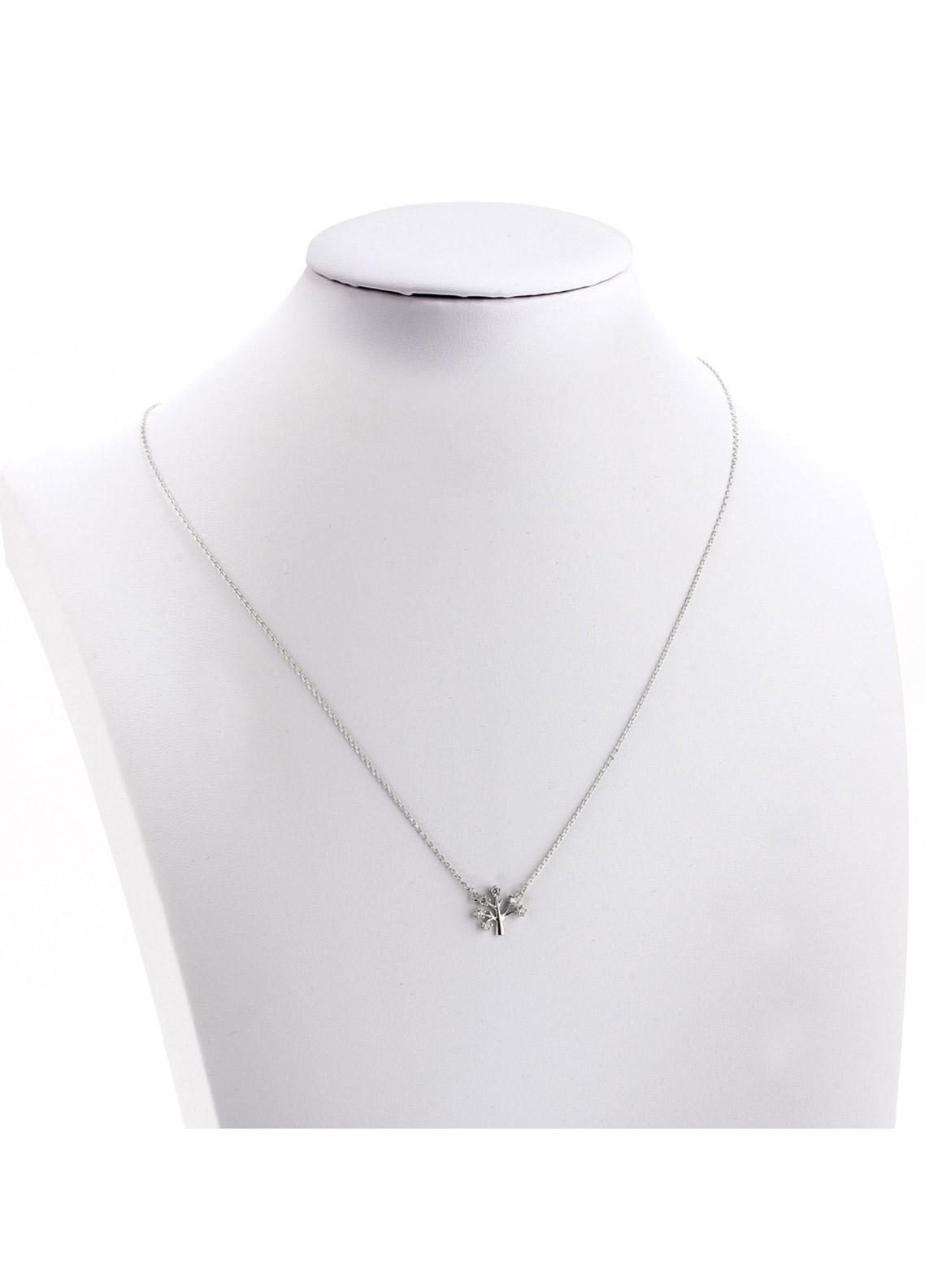 Anna Grace London by Silk Avenue Silver Plated Crystal Tree Necklace AGN0041 - Ladies Jewellery