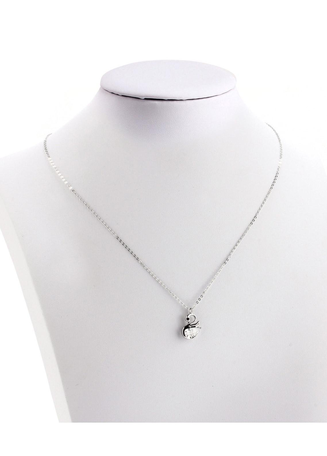 Anna Grace London by Silk Avenue Silver Plated Crystal Swan Necklace AGN0043 - Ladies Jewellery