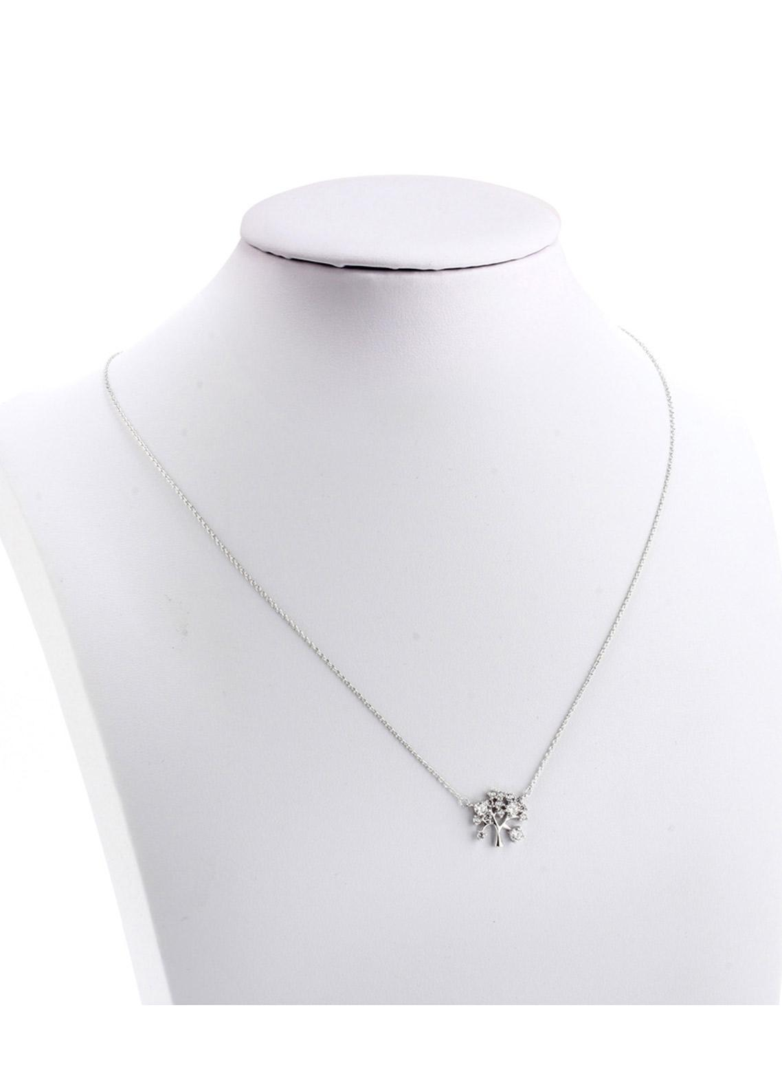 Anna Grace London by Silk Avenue Silver Plated Crystal Plated Tree Necklace AGN0044 - Ladies Jewellery