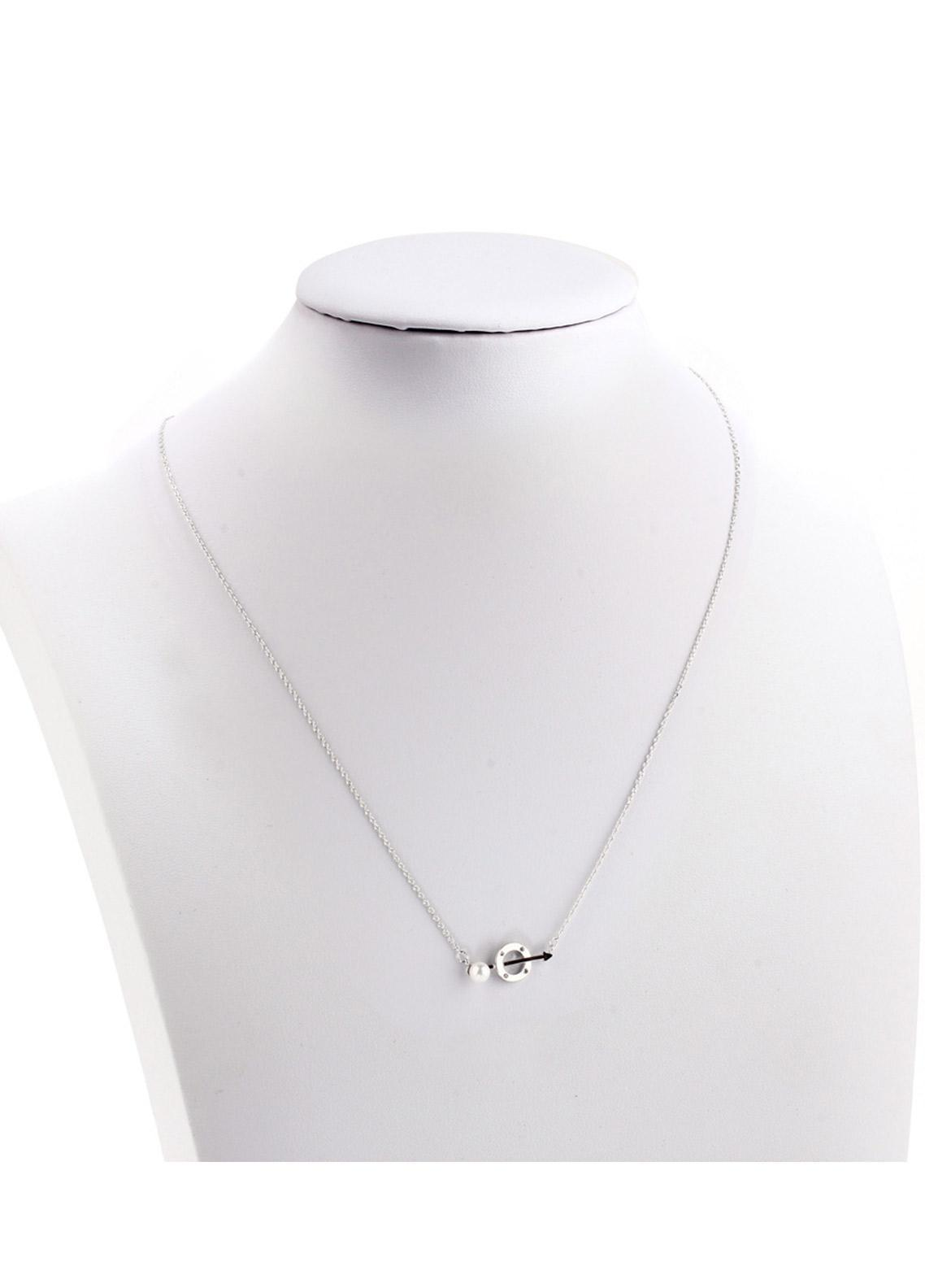 Anna Grace London by Silk Avenue Silver Plated Crystal Pearl Circle & Arrow Necklace AGN0045 - Ladies Jewellery