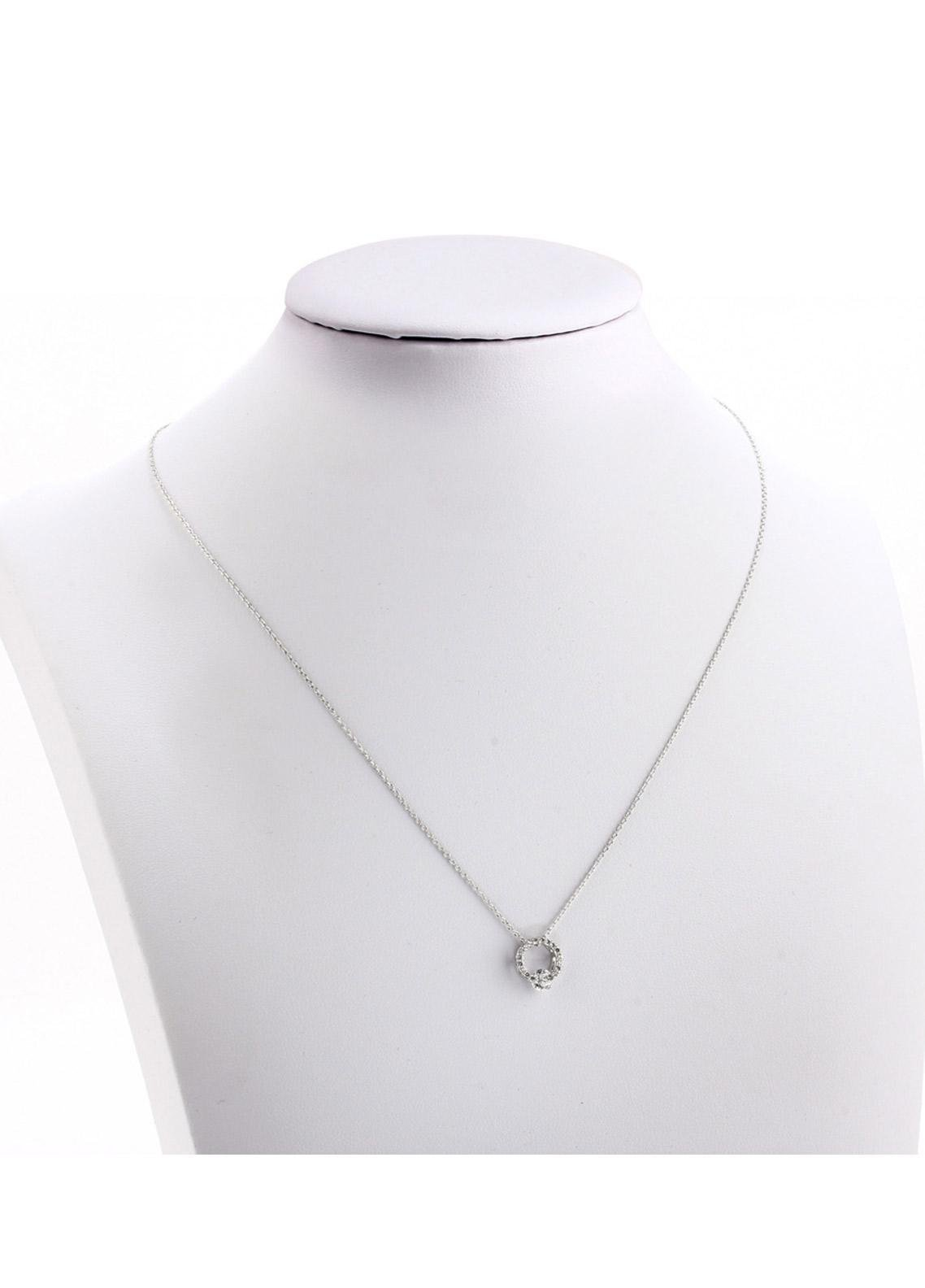 Anna Grace London by Silk Avenue Silver Plated Crystal Circle Necklace AGN0047 - Ladies Jewellery