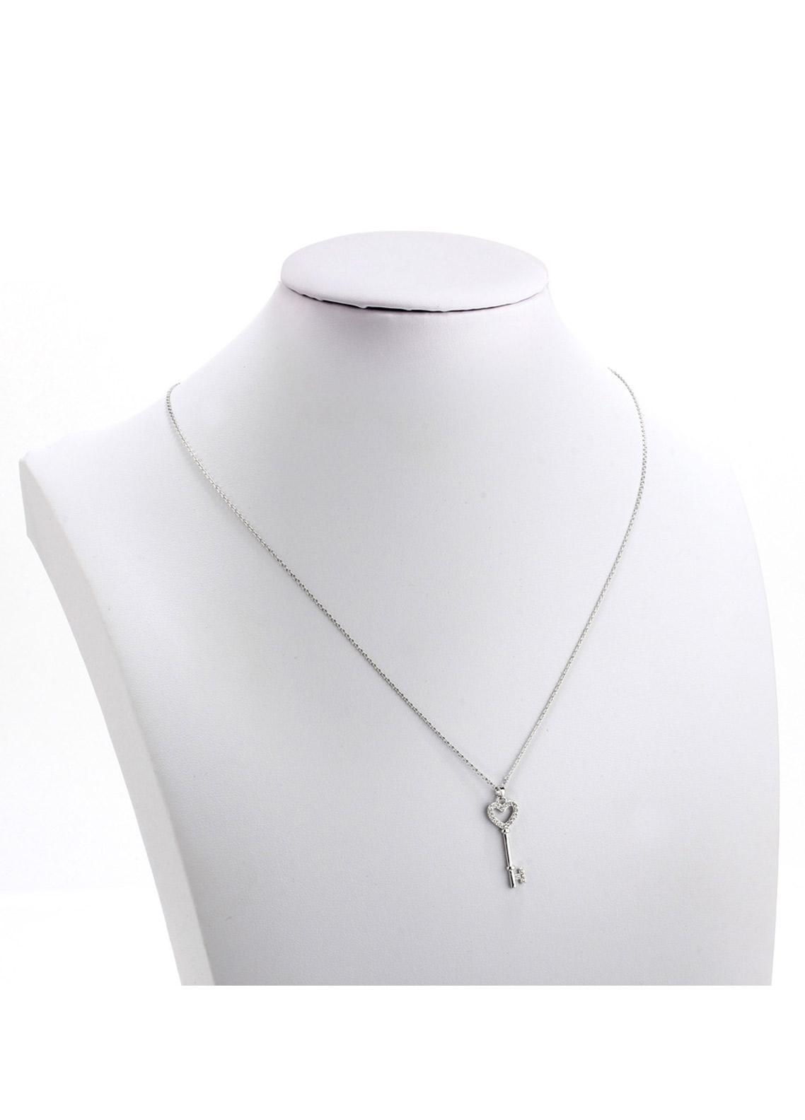 Anna Grace London by Silk Avenue Silver Plated Crystal Key Pendant Necklace AGN0048 - Ladies Jewellery