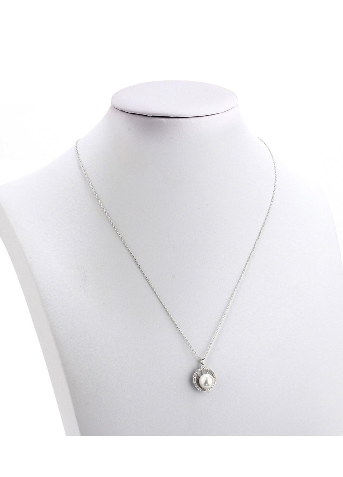 Anna Grace London by Silk Avenue Silver Plated Crystal Pearl Circle Necklace AGN0049 - Ladies Jewellery