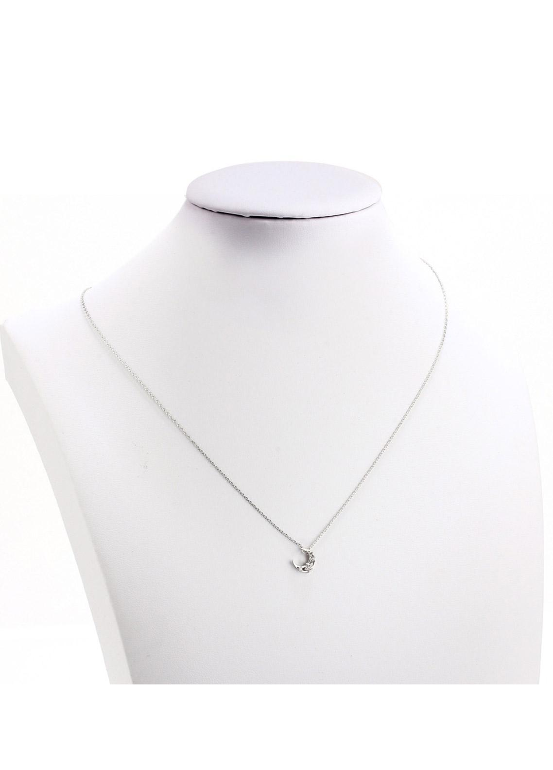 Anna Grace London by Silk Avenue Silver Plated Crystal Moon Necklace AGN0050 - Ladies Jewellery
