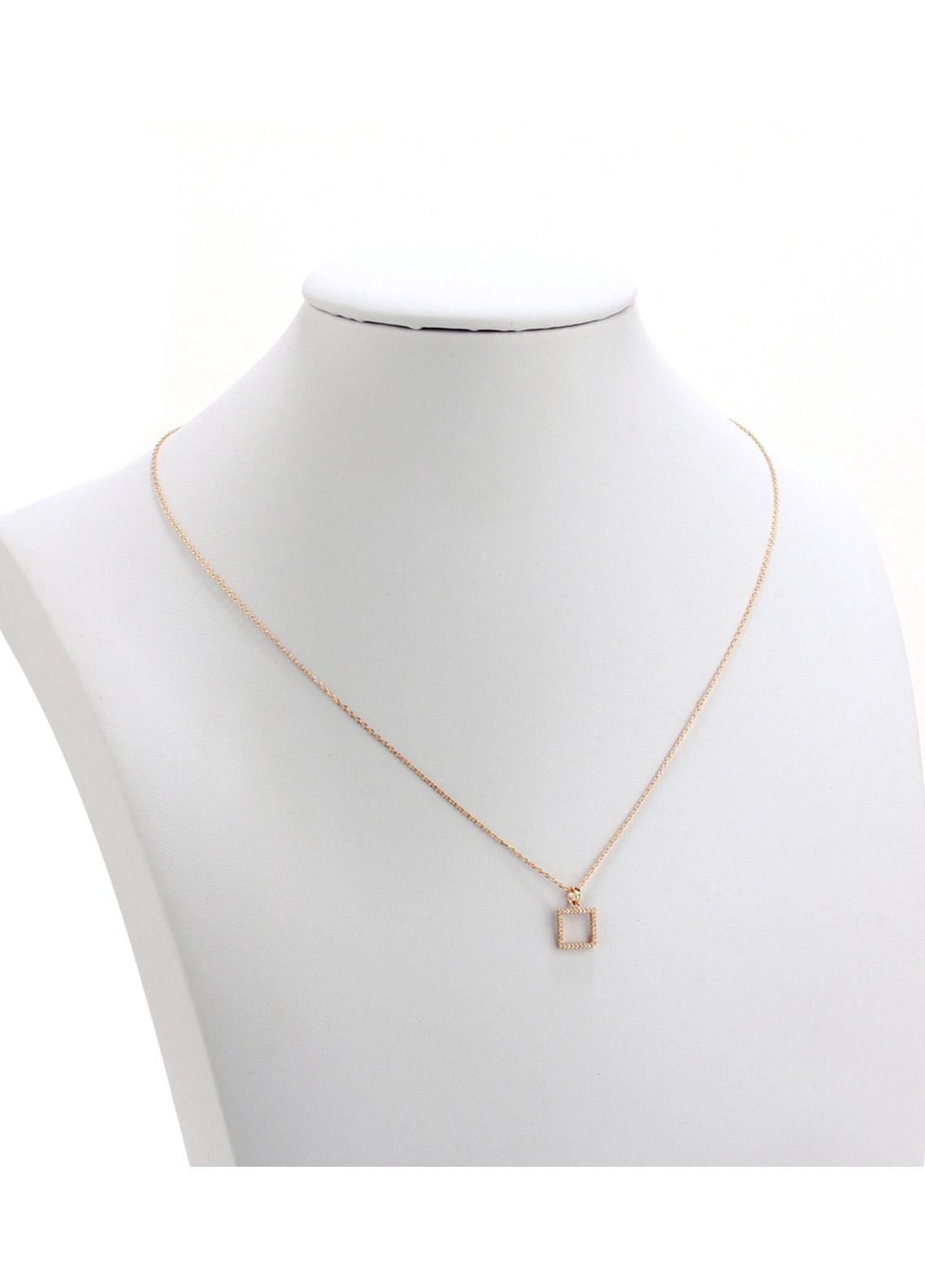 Anna Grace London by Silk Avenue Gold Plated Crystal Square Necklace AGN0051 - Ladies Jewellery