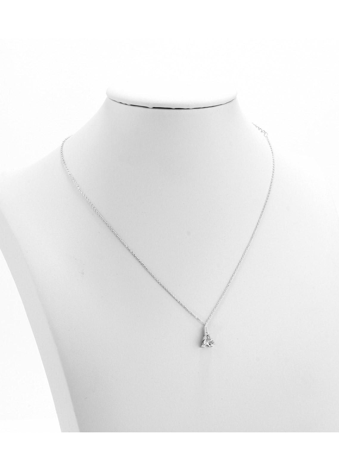 Anna Grace London by Silk Avenue Silver Plated Crystal Eiffel Tower Necklace AGN0053 - Ladies Jewellery