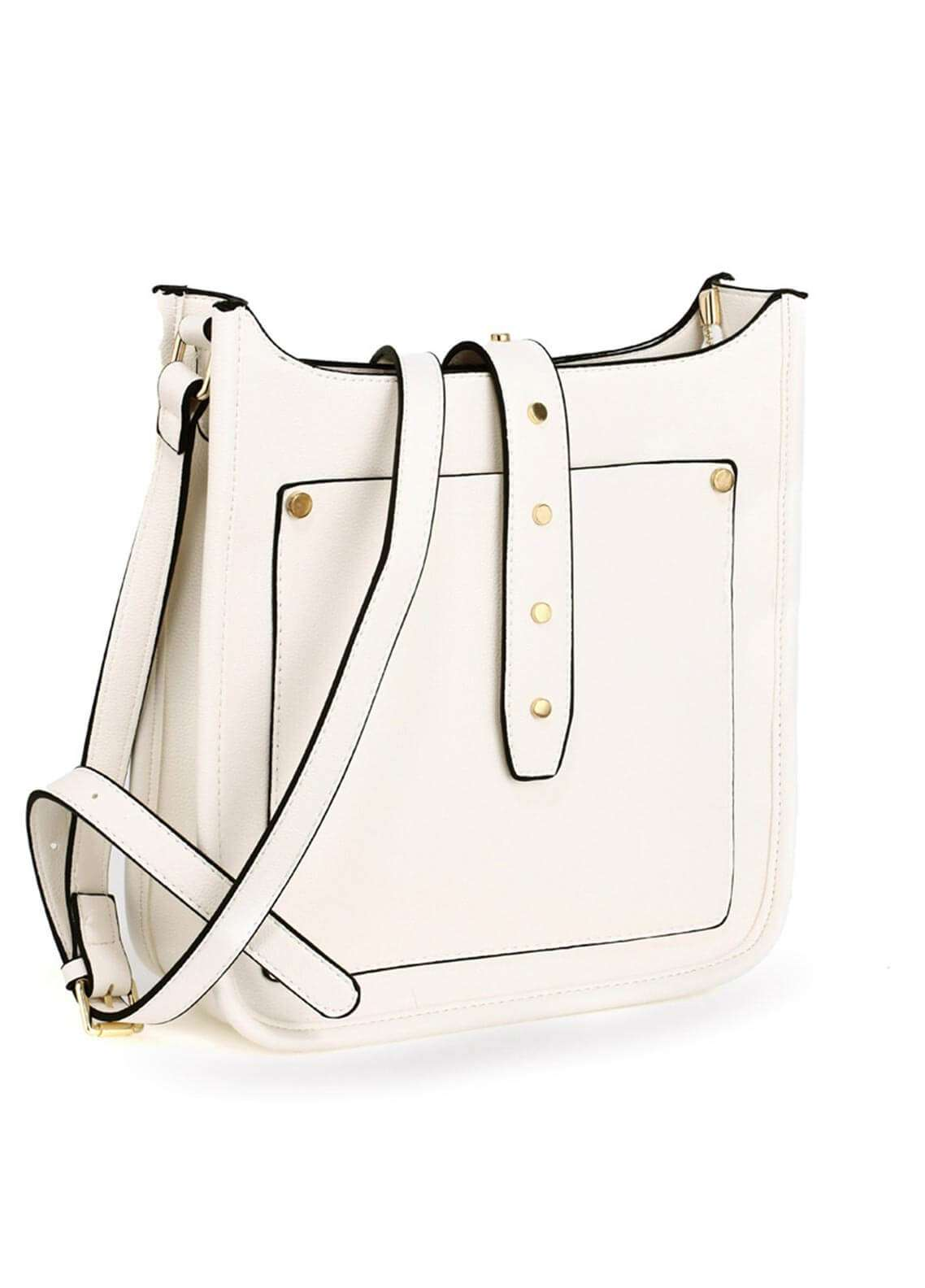 Anna Grace London Faux Leather Shoulder  Bags for Woman - White