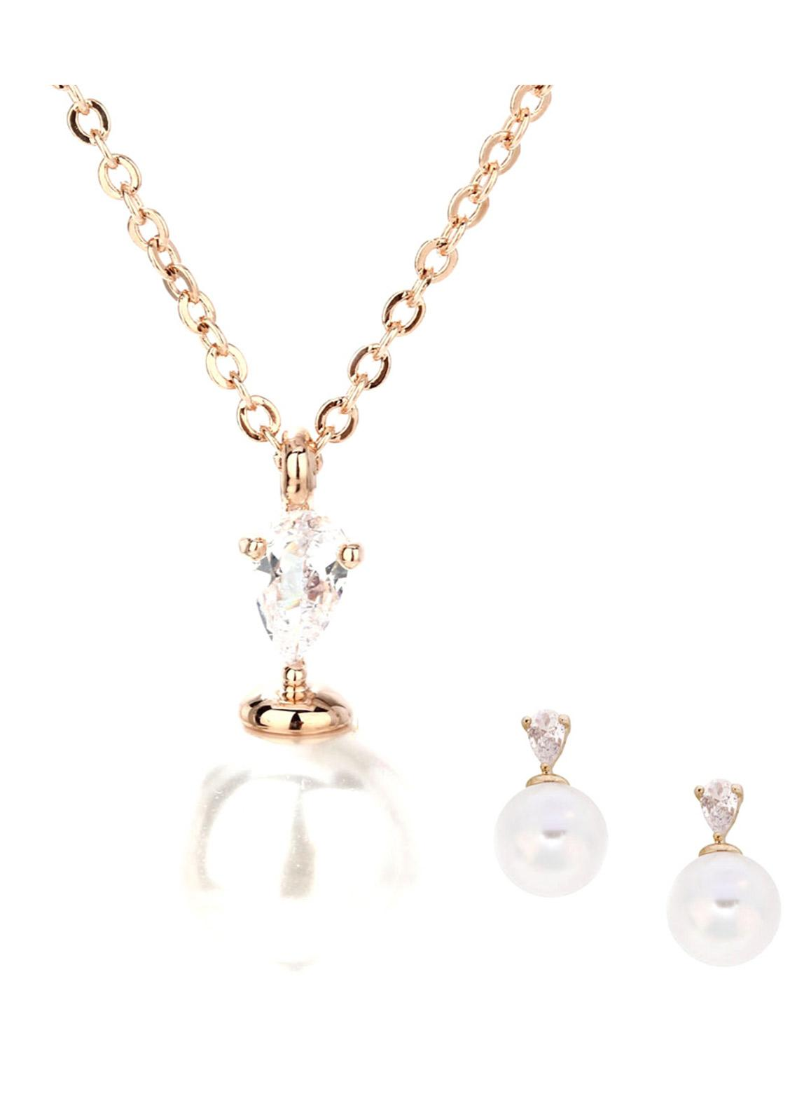 Anna Grace London by Silk Avenue Gold Plated Crystal Pearl Necklace & Earrings Jewelry Set AGNE010  - Ladies Jewellery