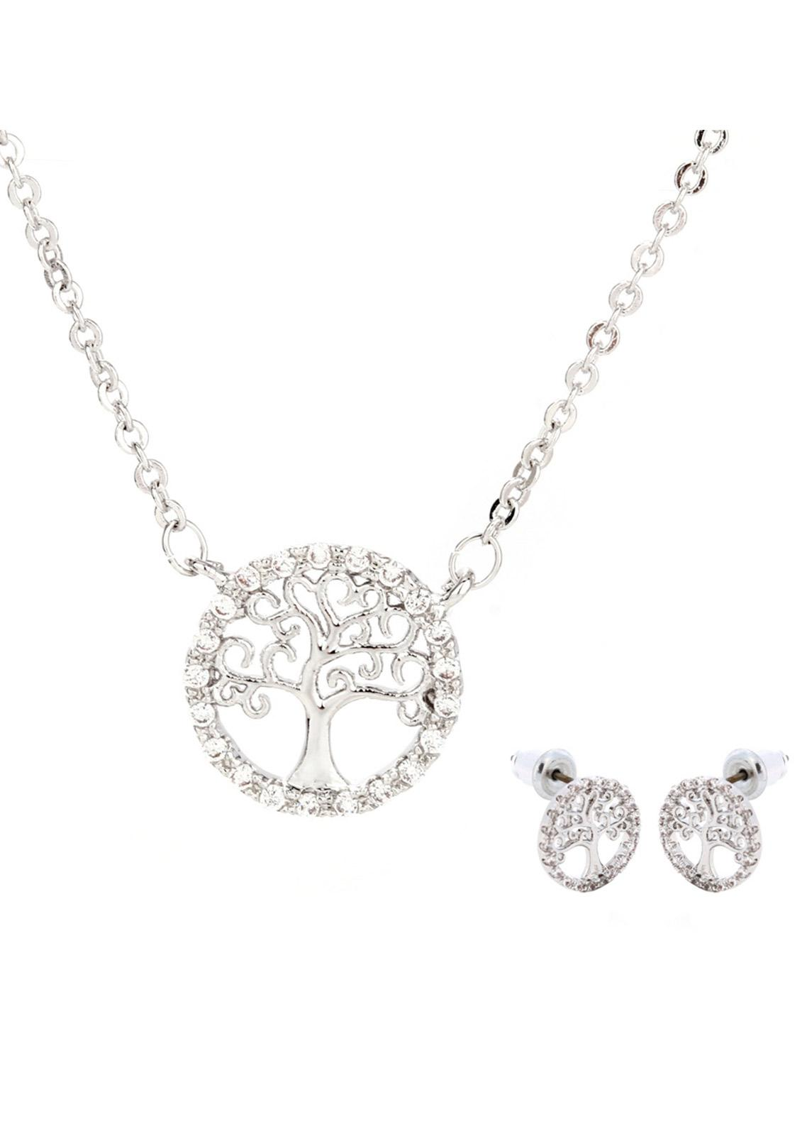 Anna Grace London by Silk Avenue Silver Plated Crystal Tree Of Life Necklace & Earrings Jewelry Set AGNE011 - Ladies Jewellery