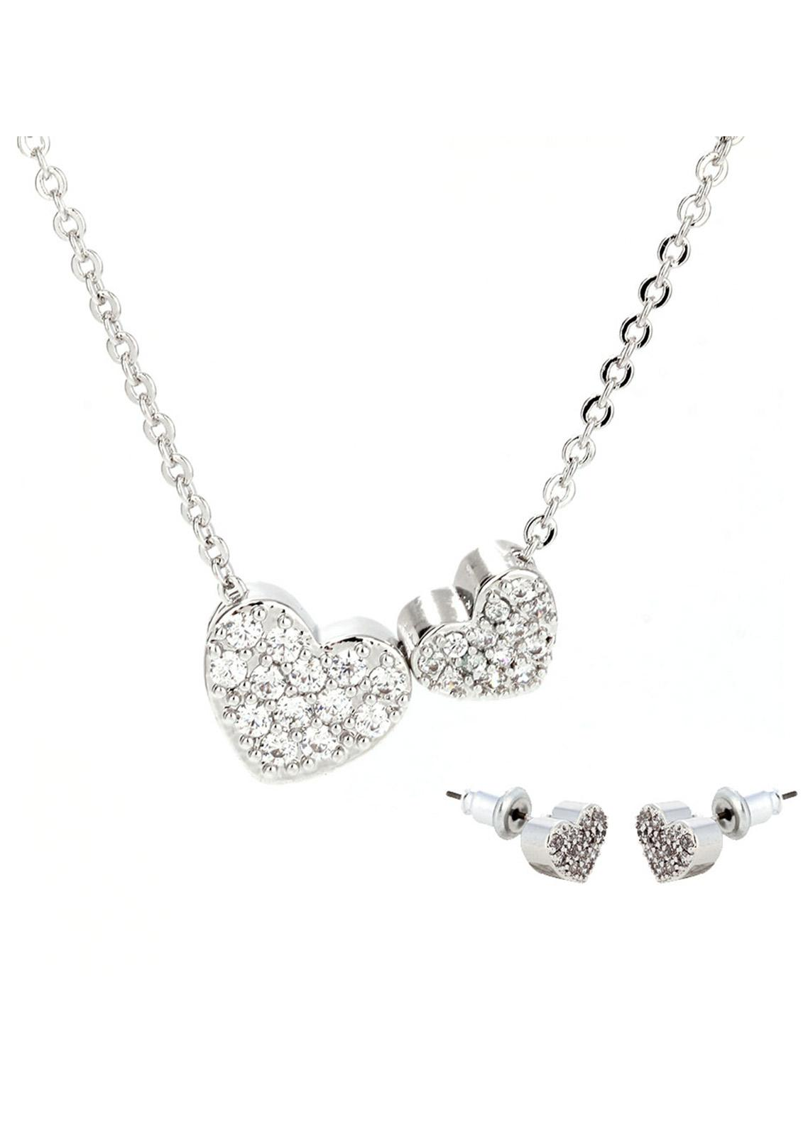 Anna Grace London by Silk Avenue Silver Plated Crystal Two Hearts Necklace & Earrings Jewelry Set AGNE014 - Ladies Jewellery
