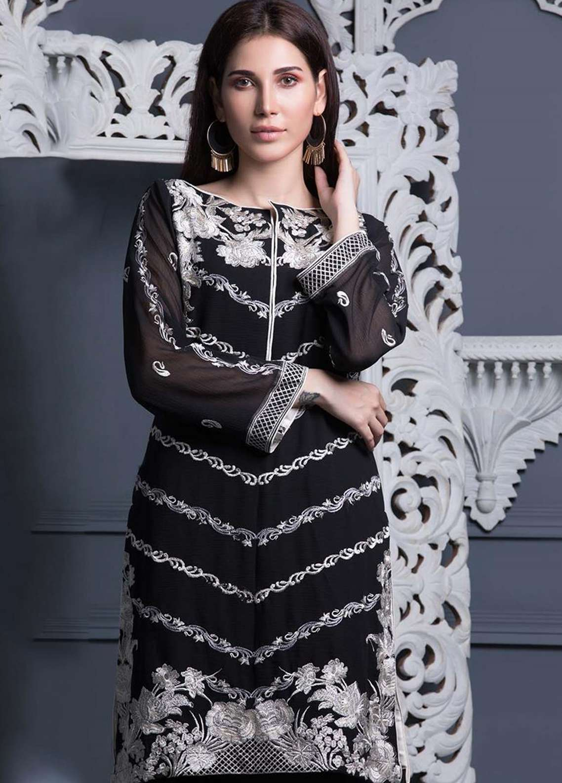 Areeba Saleem Embroidered Chiffon Unstitched Kurties AS18L 06 - Black & White Collection