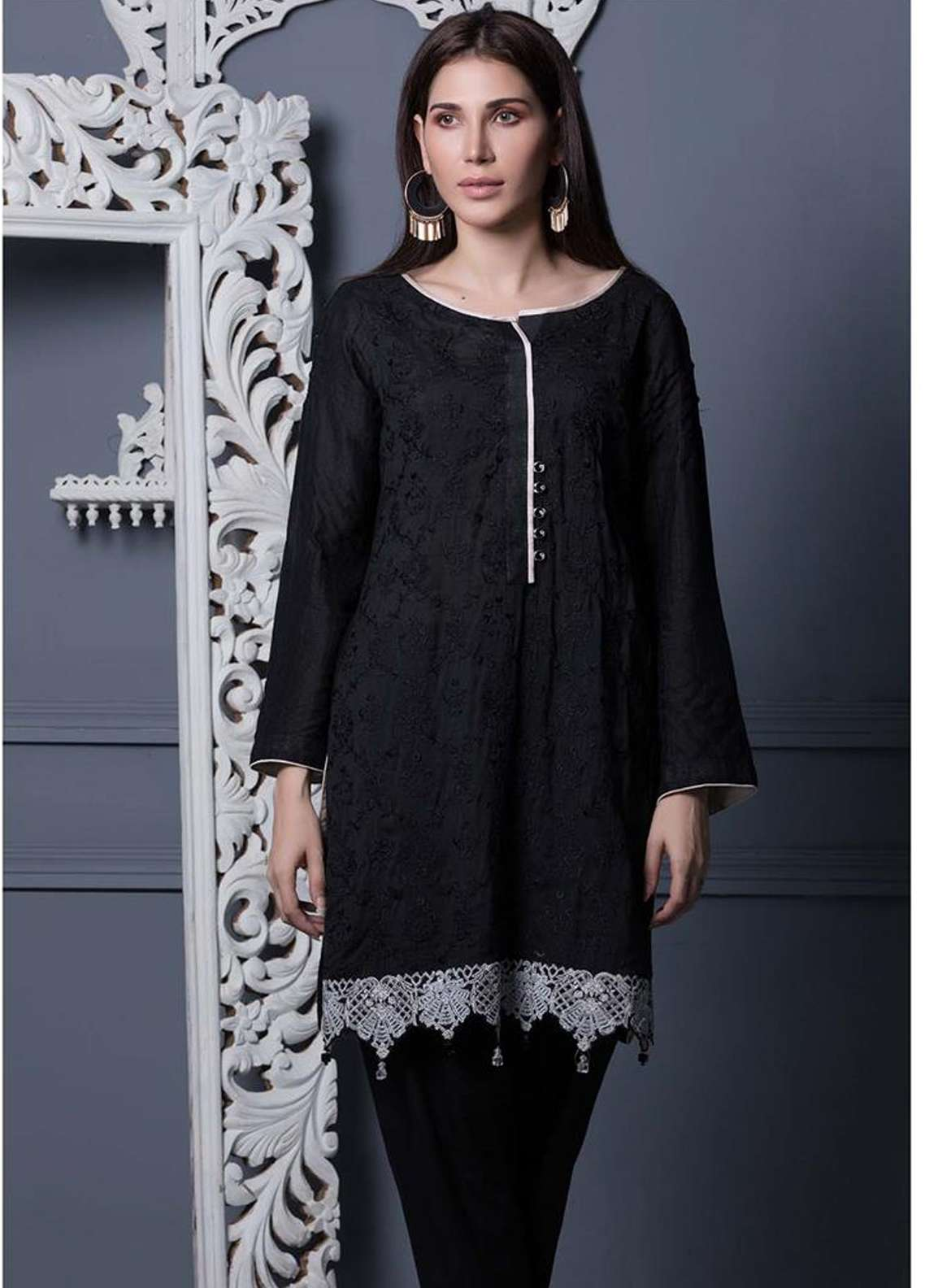 Areeba Saleem Embroidered Khaadi Net Unstitched Kurties AS18L 08 - Black & White Collection