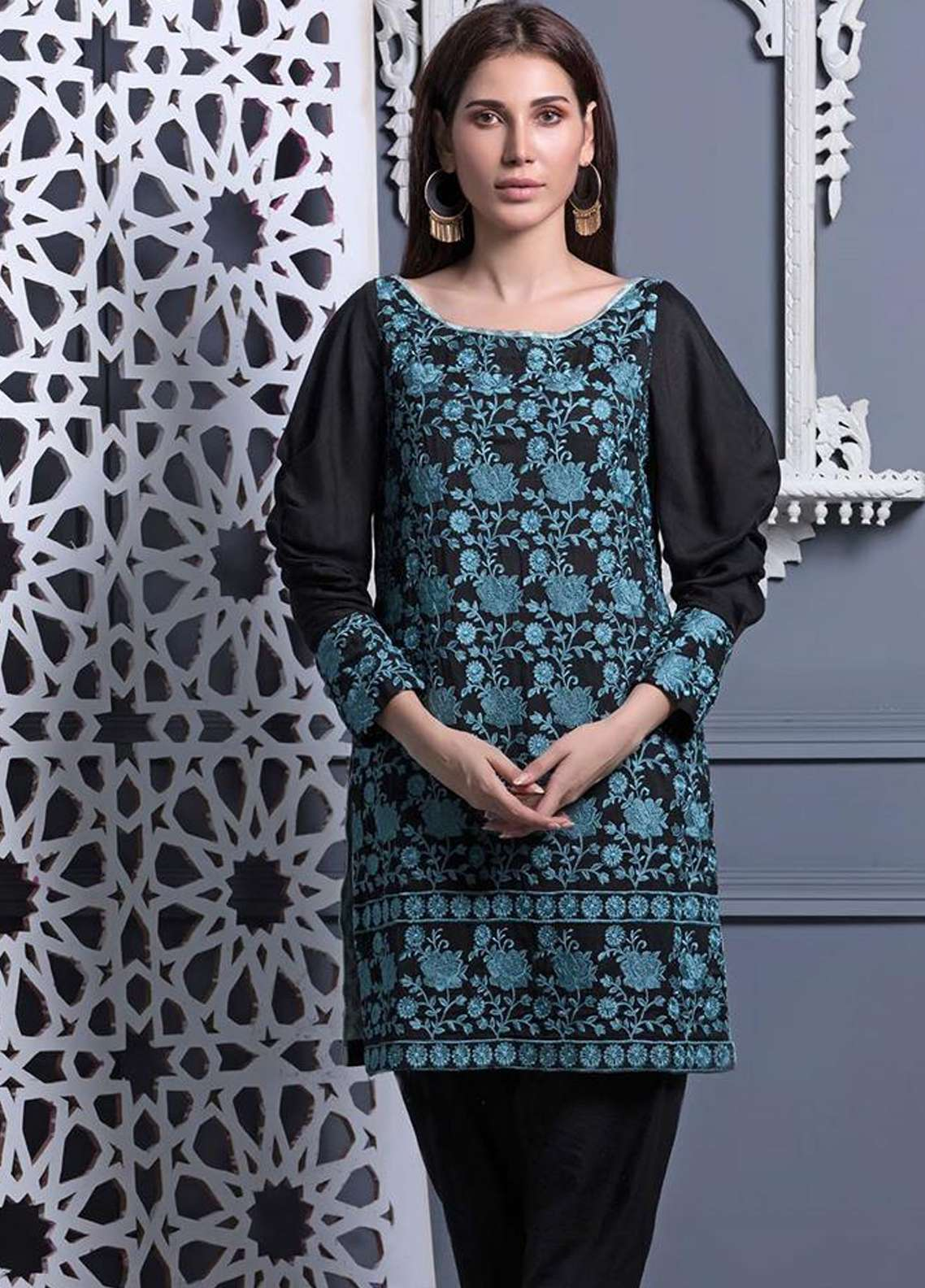 Areeba Saleem Embroidered Khaadi Net Unstitched Kurties AS18L 09 - Black & White Collection