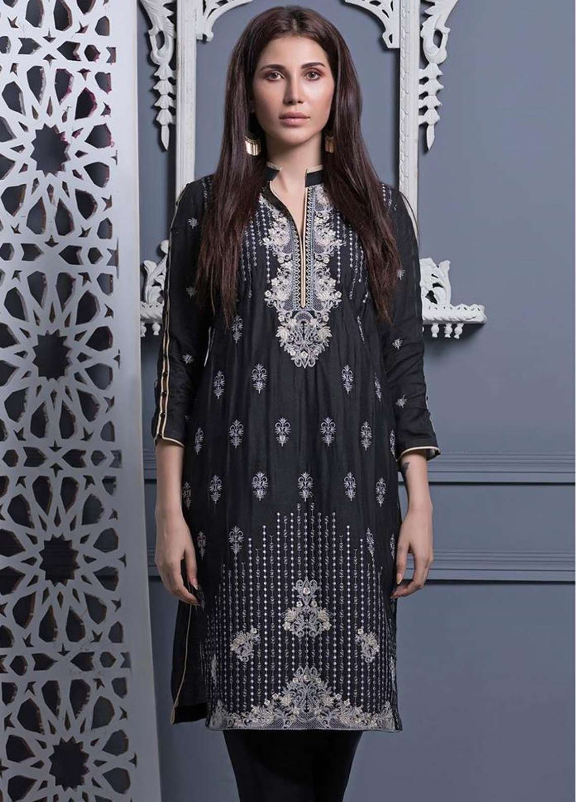 Areeba Saleem Embroidered Khaadi Net Unstitched Kurties AS18L 10 - Black & White Collection