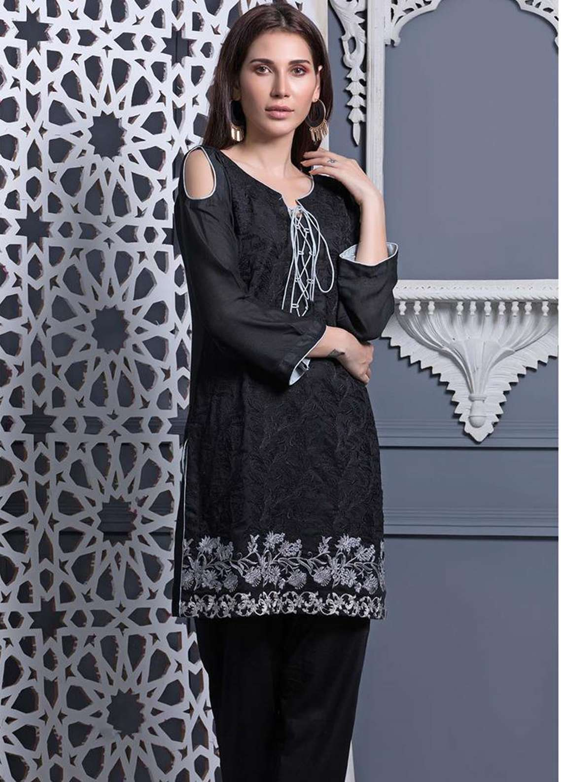 Areeba Saleem Embroidered Khaadi Net Unstitched Kurties AS18L 12 - Black & White Collection