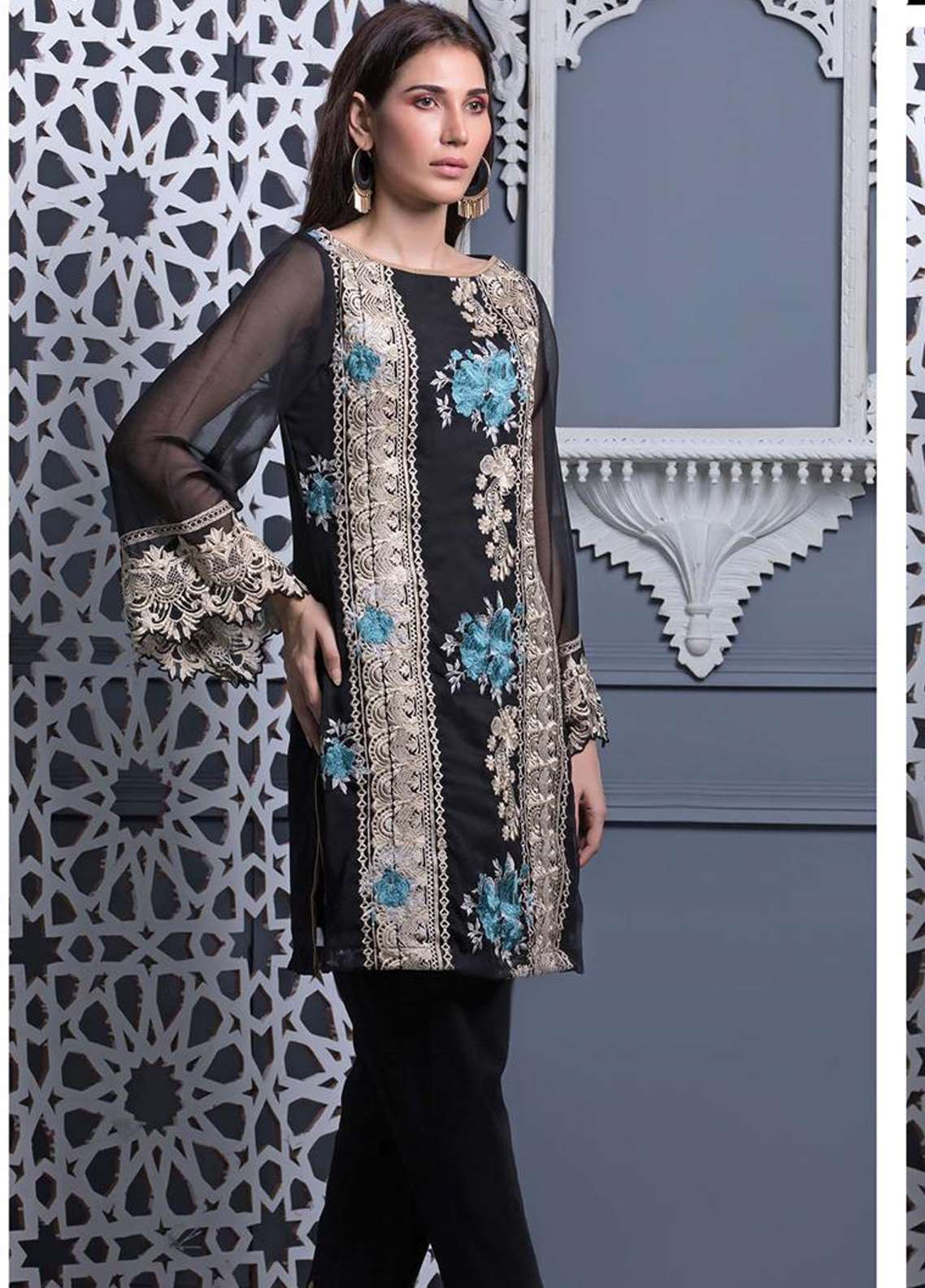 Areeba Saleem Embroidered Chiffon Unstitched Kurties AS18L 13 - Black & White Collection