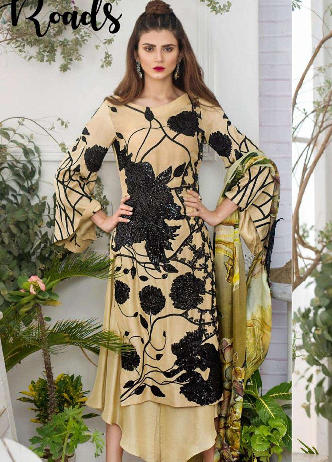 Asifa & Nabeel Embroidered Raw Silk Unstitched 3 Piece Suit AN18F 04 - Festive Collection