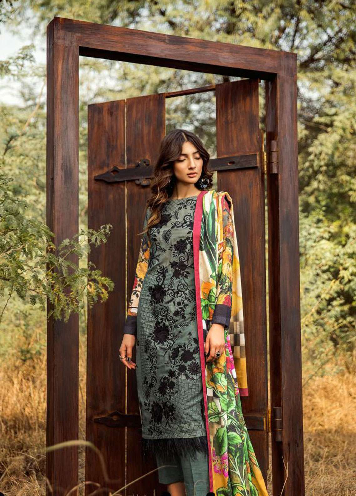 Asifa & Nabeel Embroidered Karandi Unstitched 3 Piece Suit AN18W 2B Sunset - Winter Collection