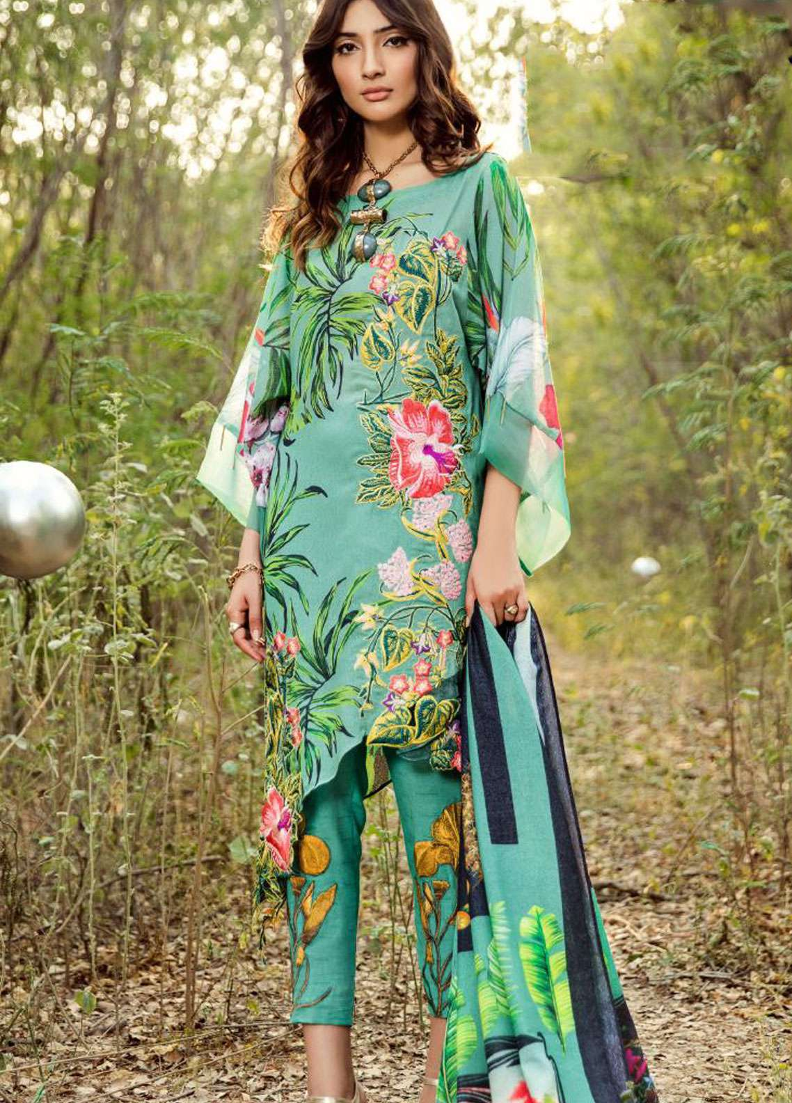 Asifa & Nabeel Embroidered Karandi Unstitched 3 Piece Suit AN18W 6F Flowers & Shrubs - Winter Collection