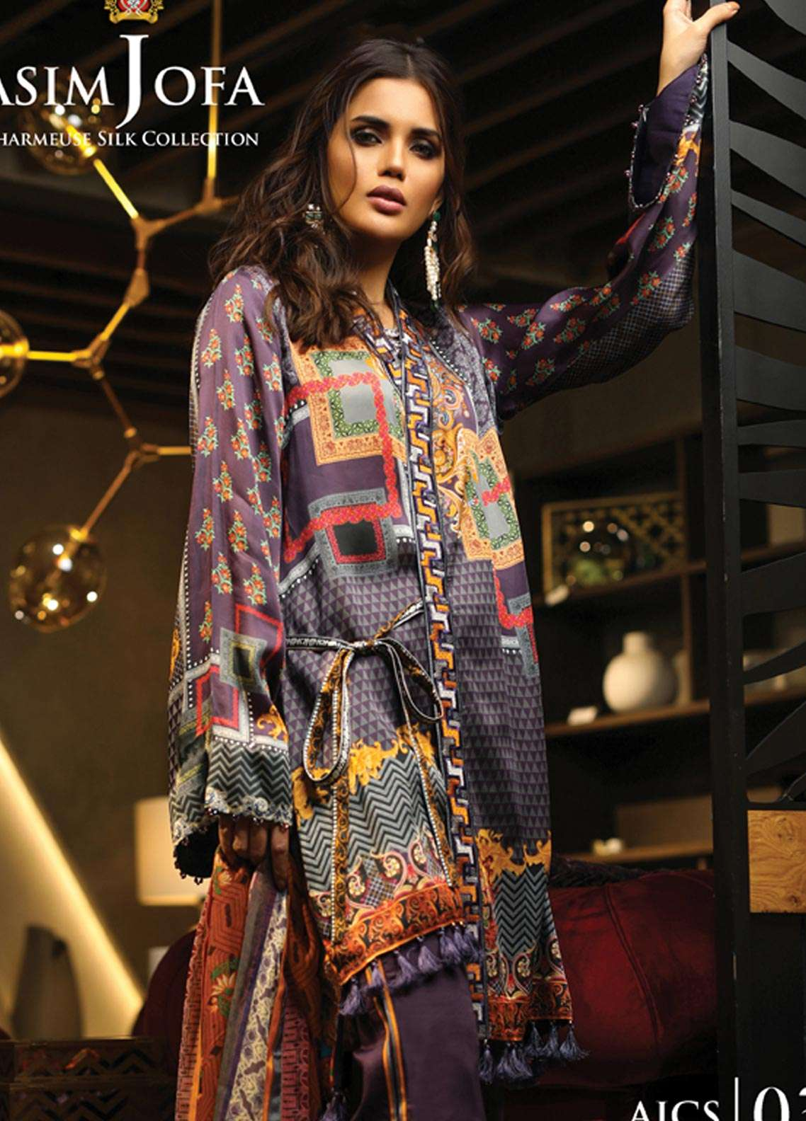 Asim Jofa Embroidered Charmeuse Unstitched 3 Piece Suit AJ18S 03 - Winter Luxury Collection