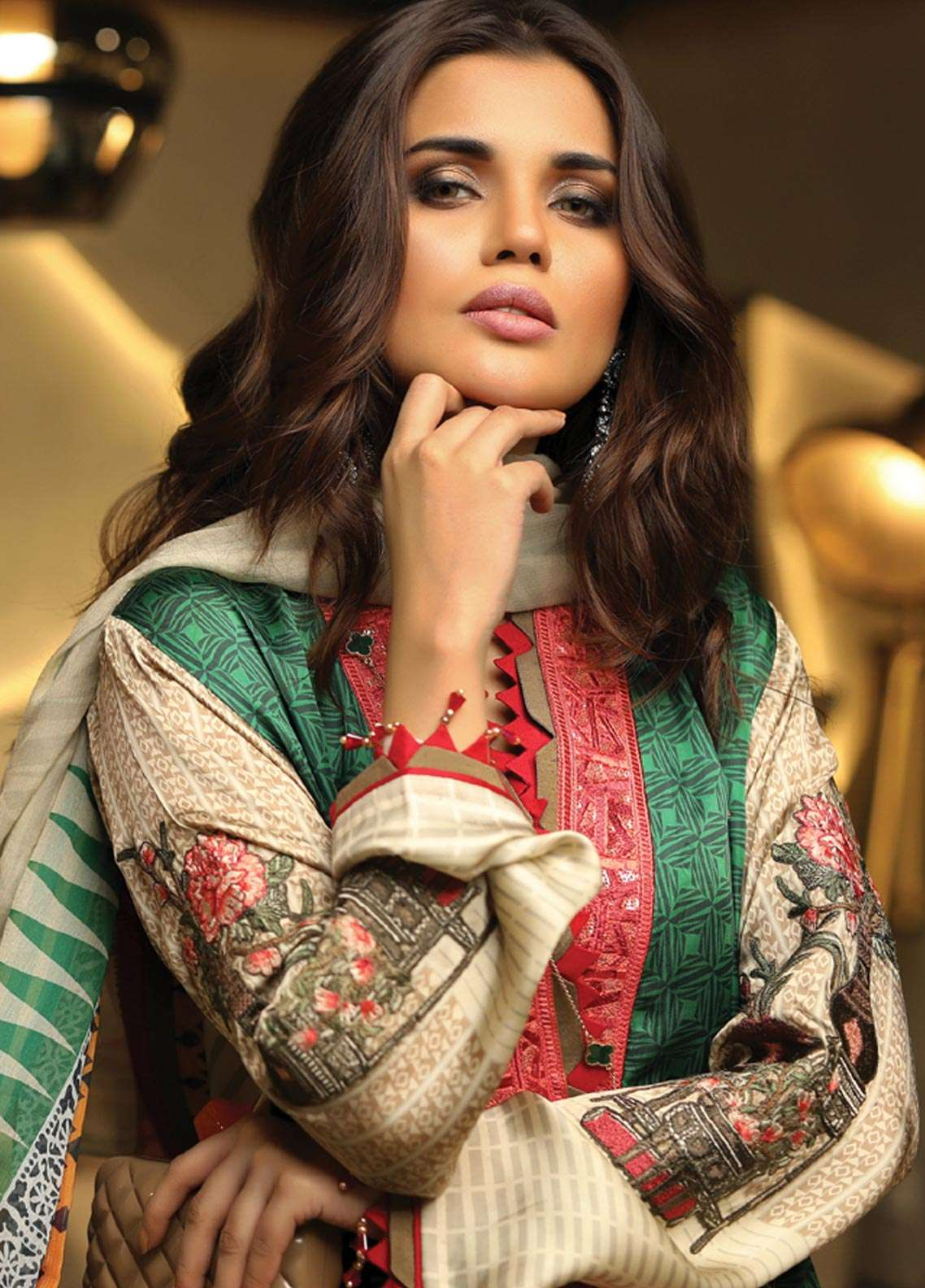 Asim Jofa Embroidered Charmeuse Unstitched 3 Piece Suit AJ18S 04 - Winter Luxury Collection