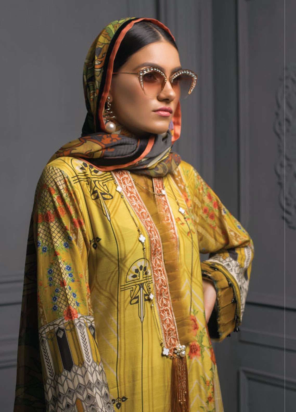 Asim Jofa Embroidered Raw Silk Unstitched 3 Piece Suit AJ18RS 01 - Luxury Collection