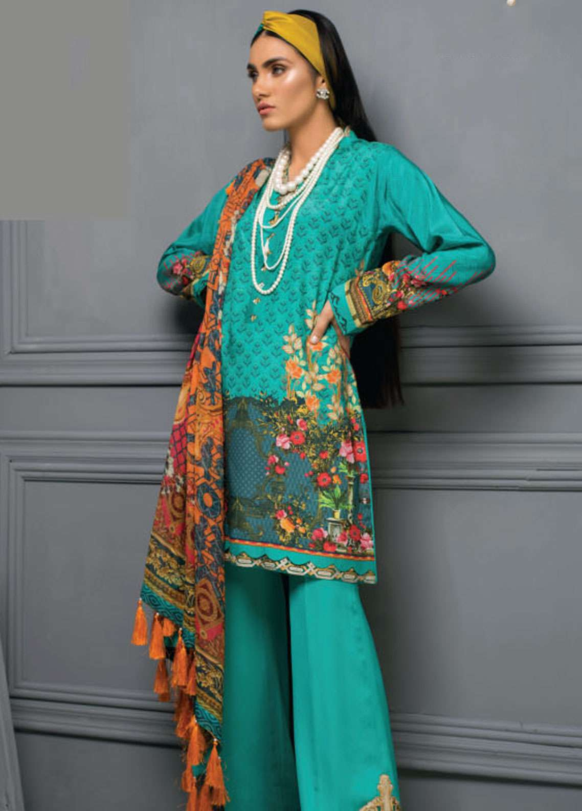 Asim Jofa Embroidered Raw Silk Unstitched 3 Piece Suit AJ18RS 02 - Luxury Collection