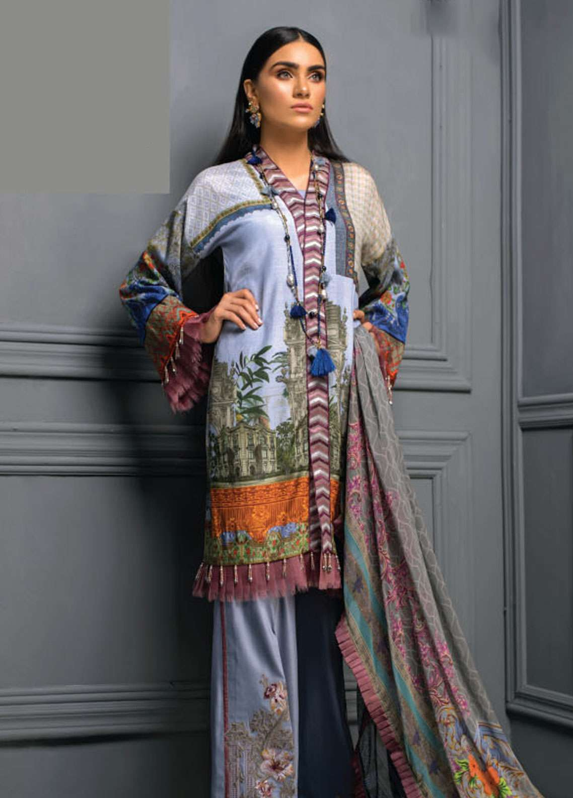 Asim Jofa Embroidered Raw Silk Unstitched 3 Piece Suit AJ18RS 04 - Luxury Collection