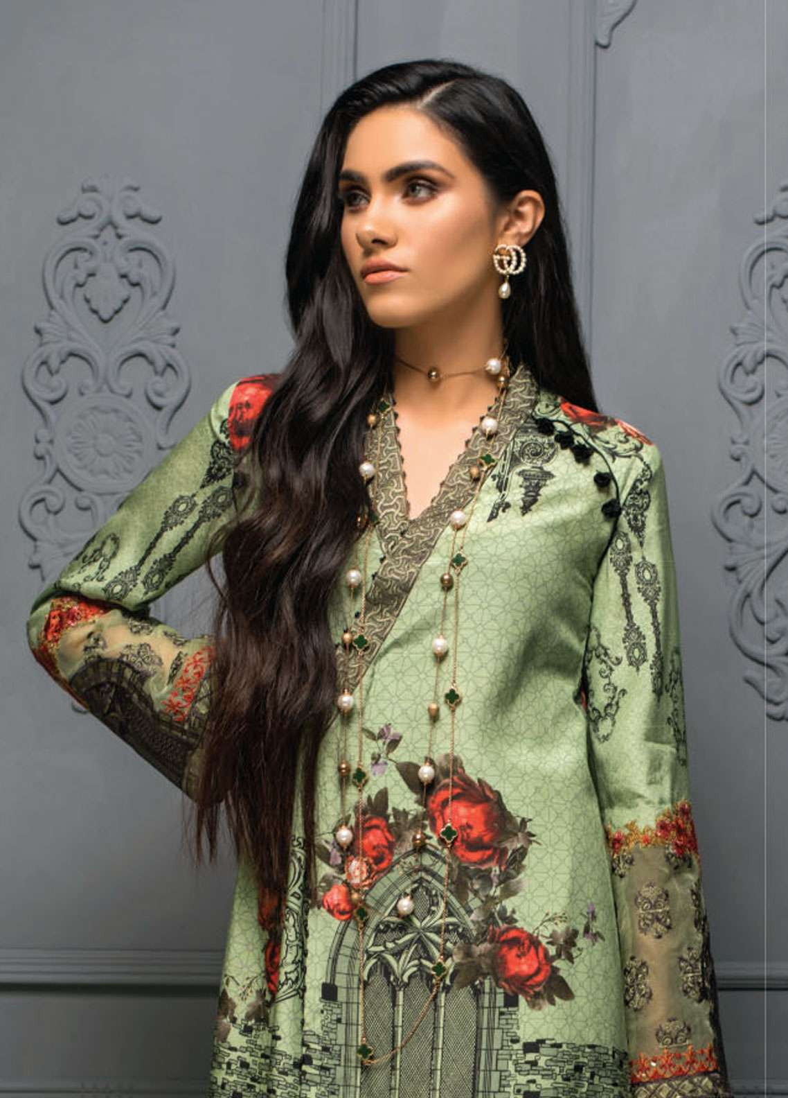 Asim Jofa Embroidered Raw Silk Unstitched 3 Piece Suit AJ18RS 05 - Luxury Collection