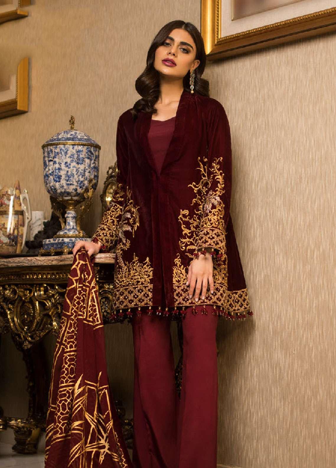 Asim Jofa Handwork Embroidered Velvet Unstitched 3 Piece Suit AJ18V 03 - Luxury Winter Collection